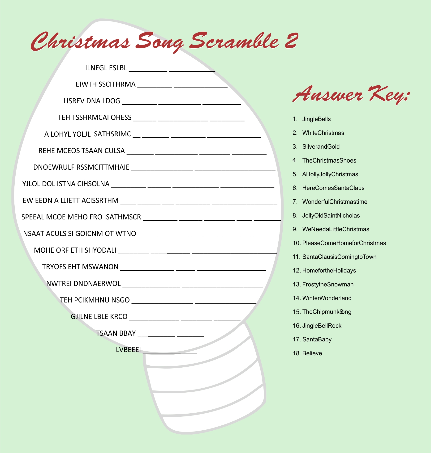 Printable Christmas Song Scramble