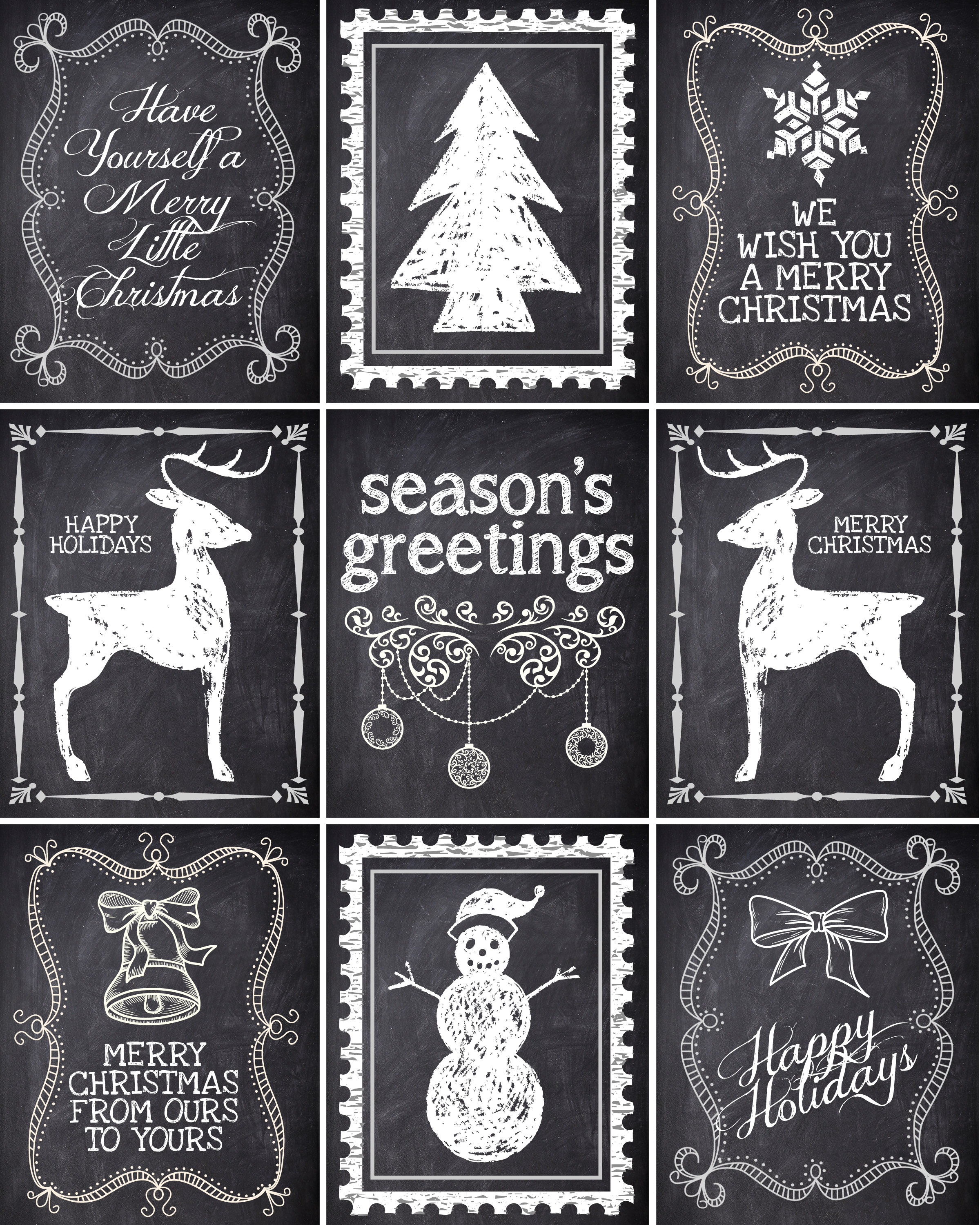 Chalkboard Christmas Tag Printable