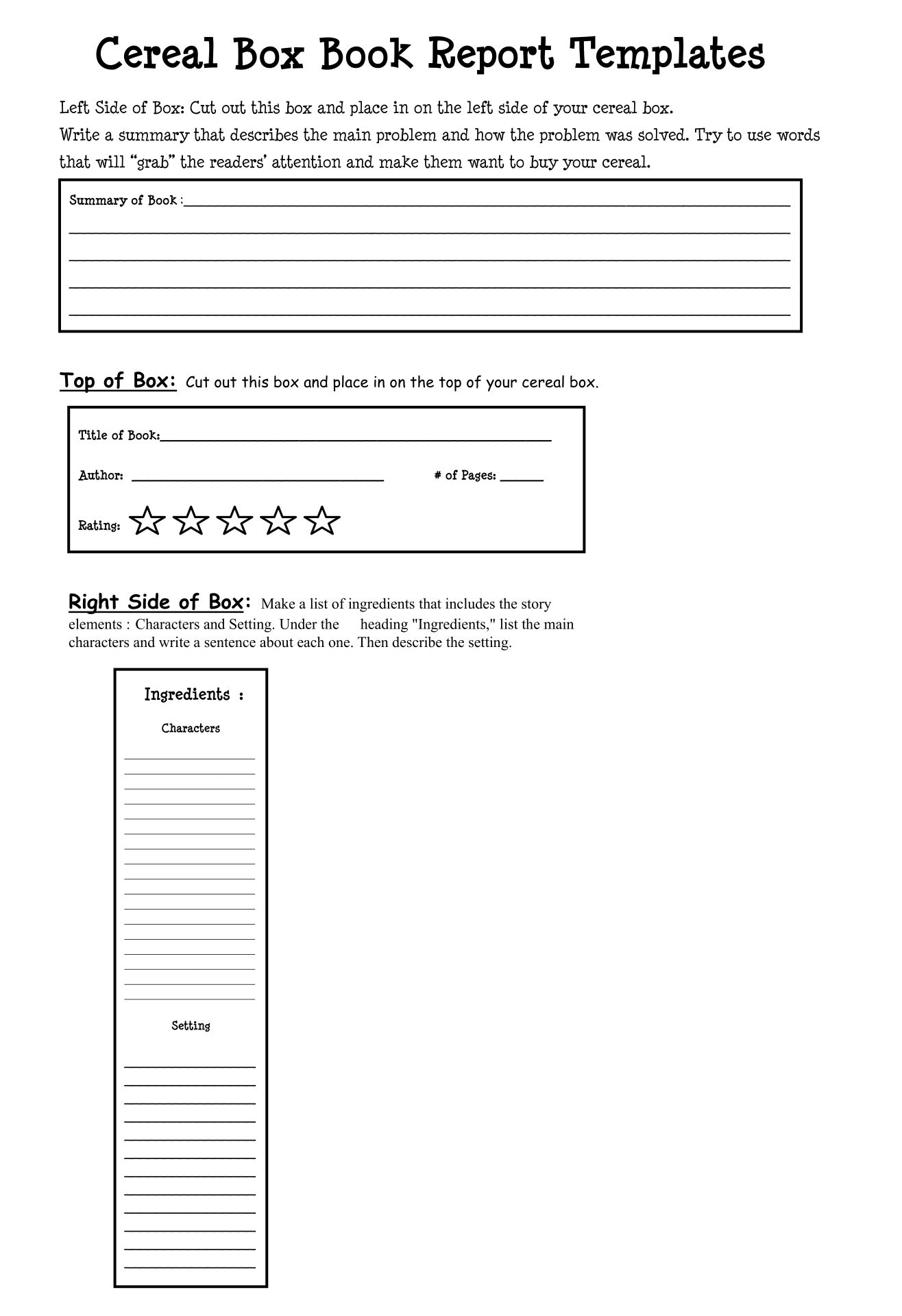 Cereal Box Template Printable
