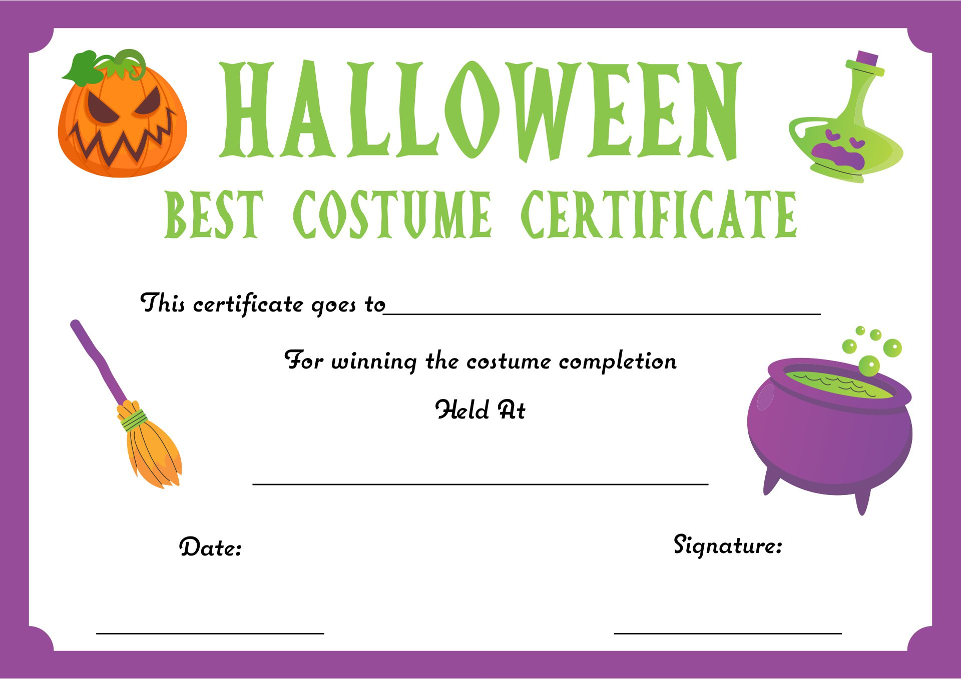 Halloween Certificates Printable