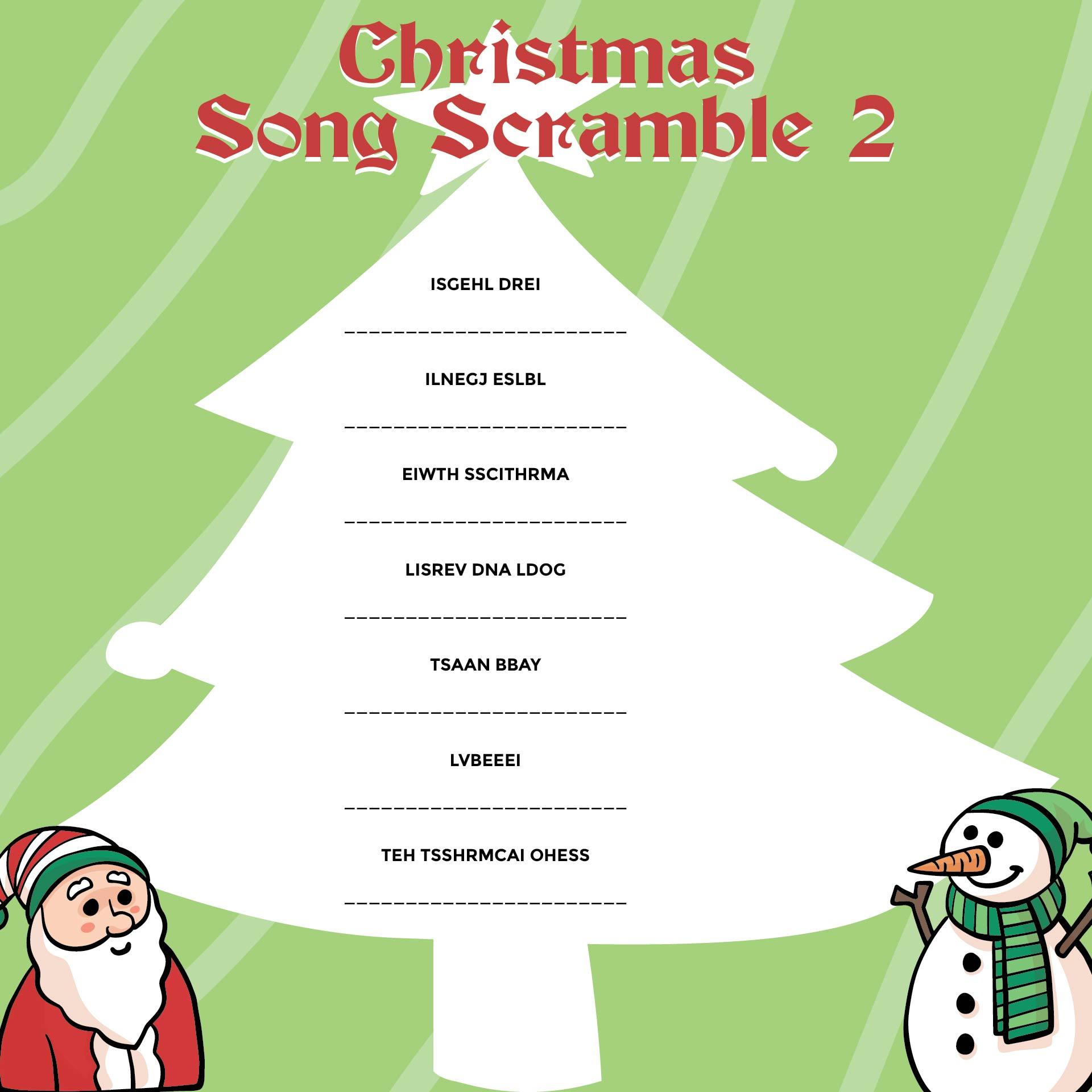 Printable Christmas Song Scramble