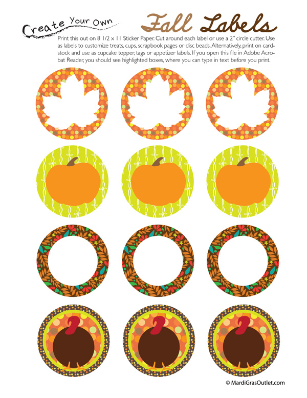 Printable Fall Stickers