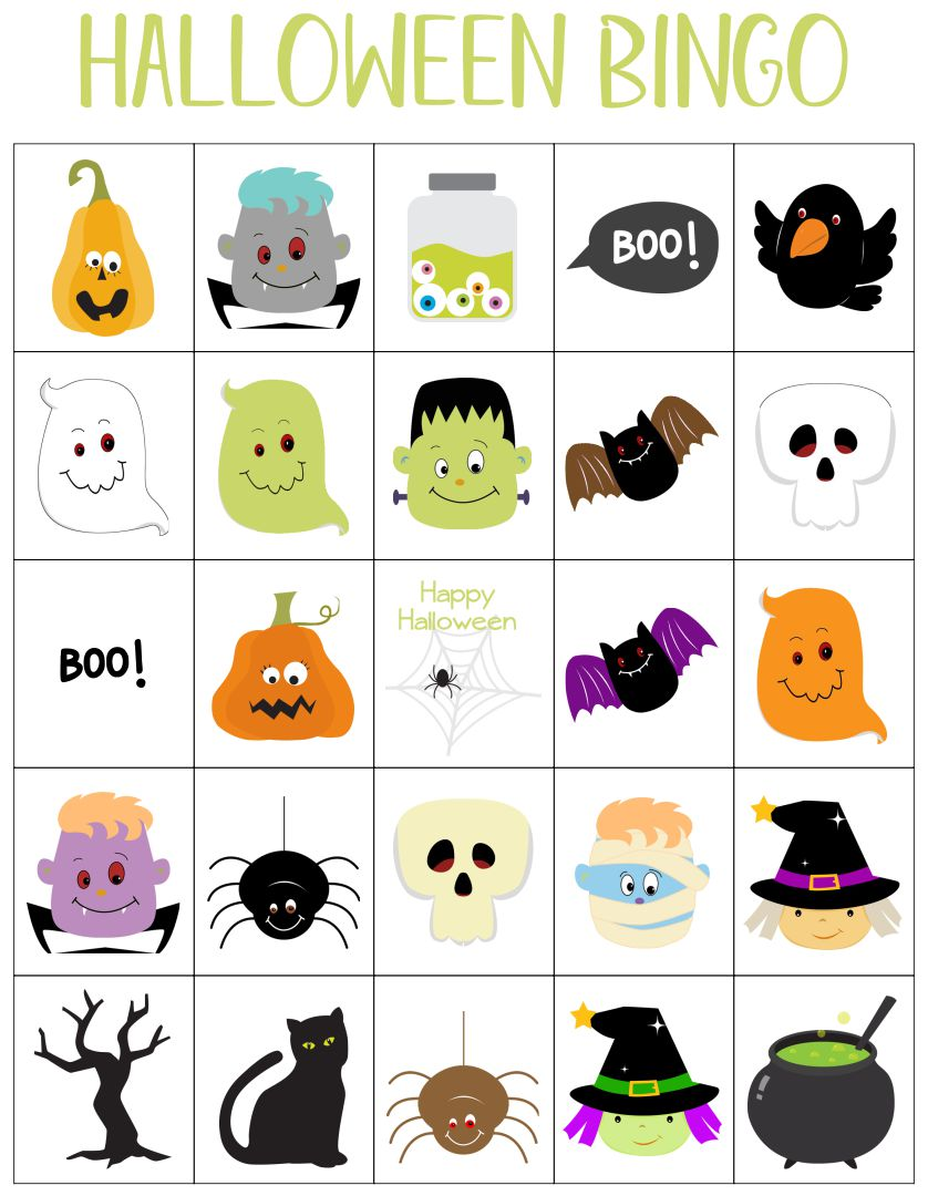 Halloween Bingo Printable For 7