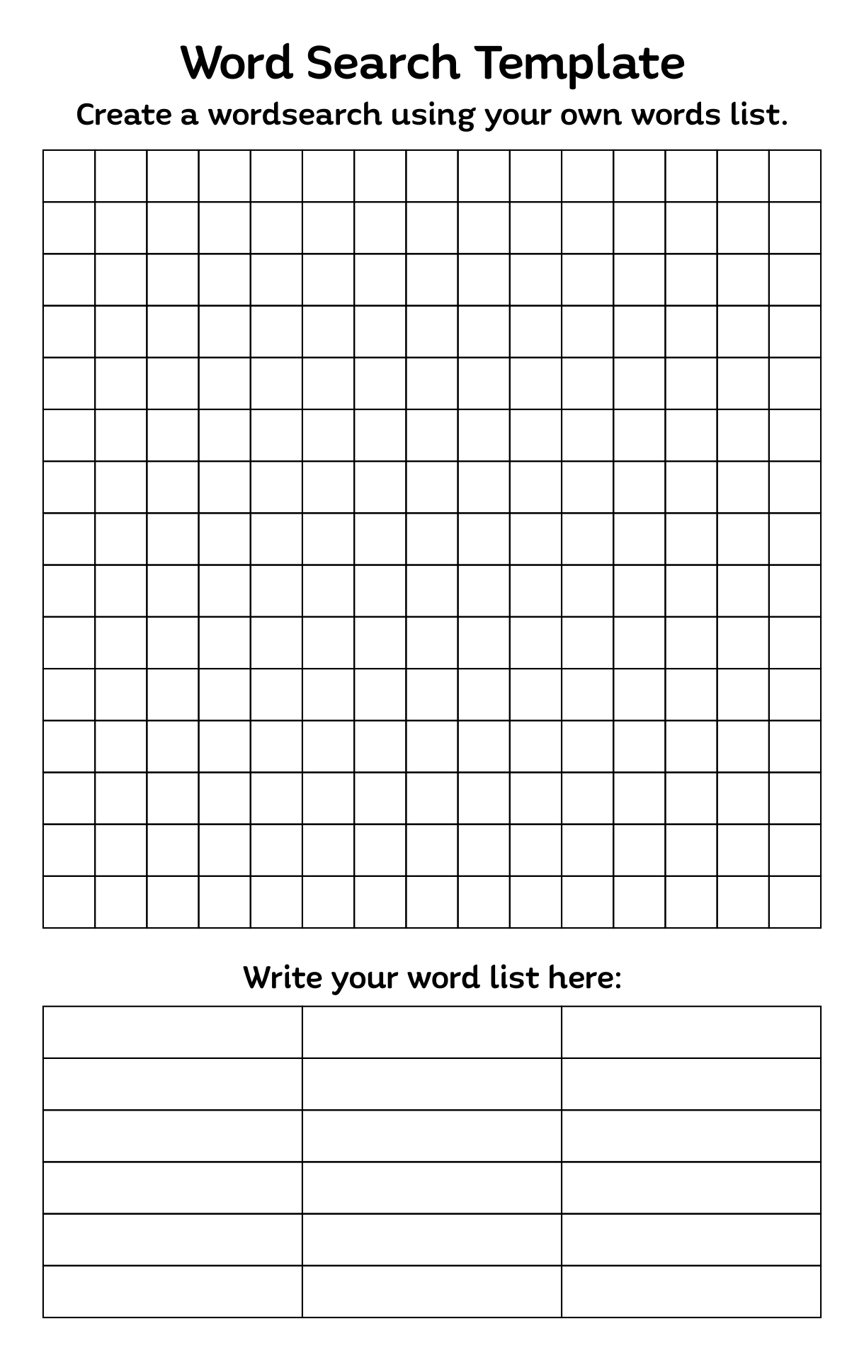 Blank Word Search Puzzles Printable