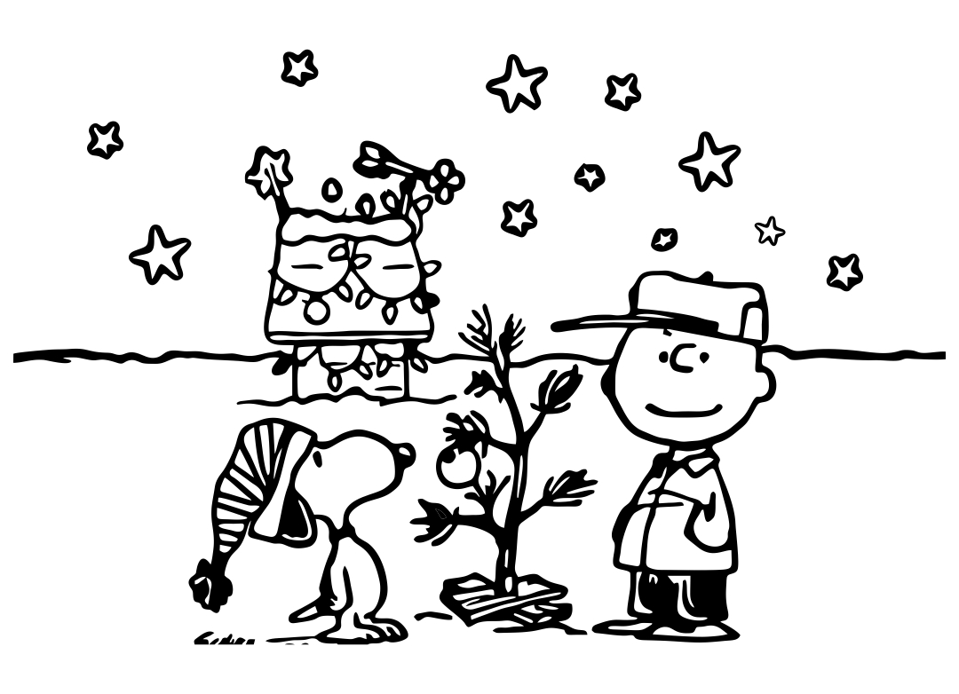 Charlie Brown Christmas Printable Coloring Cards Foldable