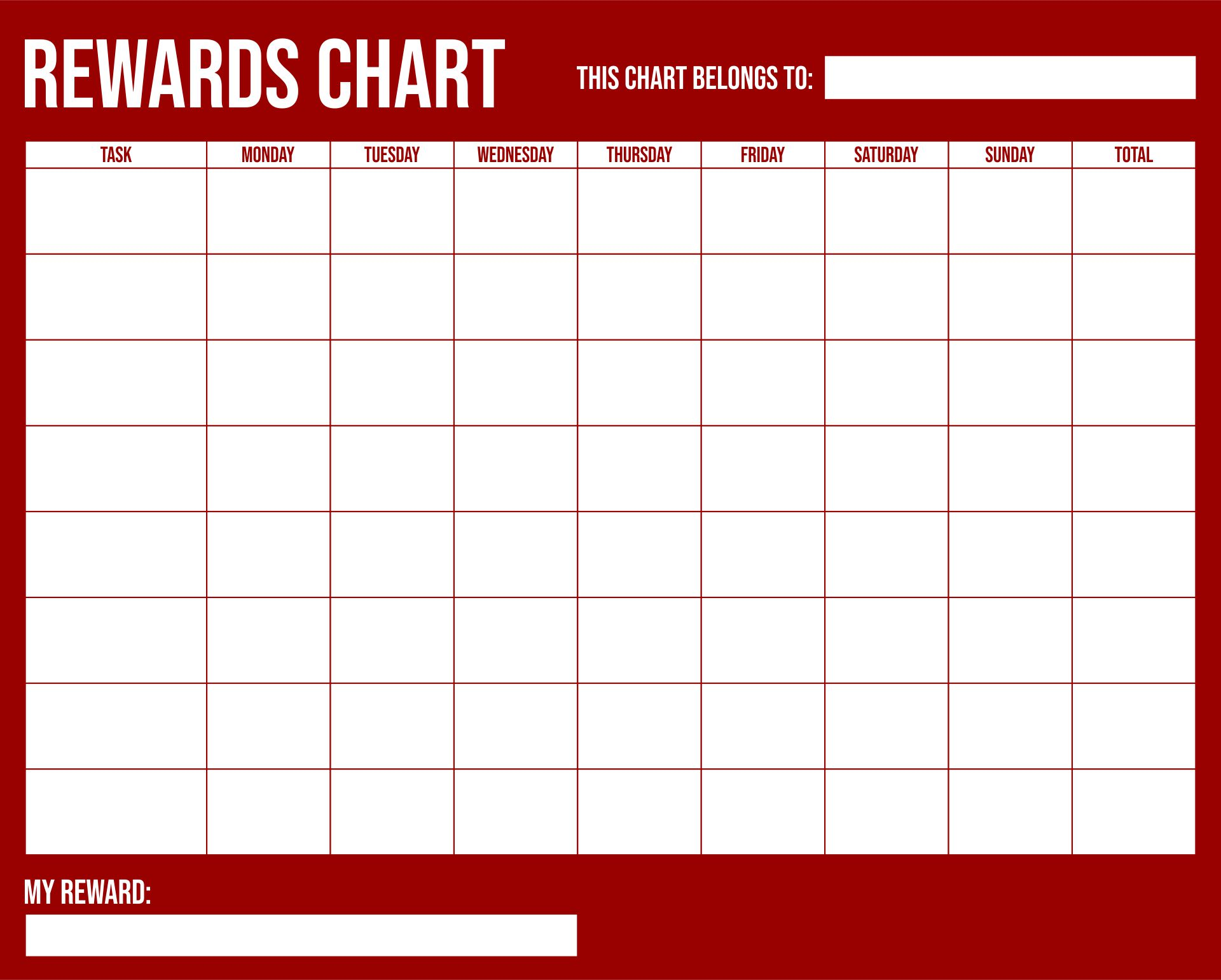 Printable Sticker Charts