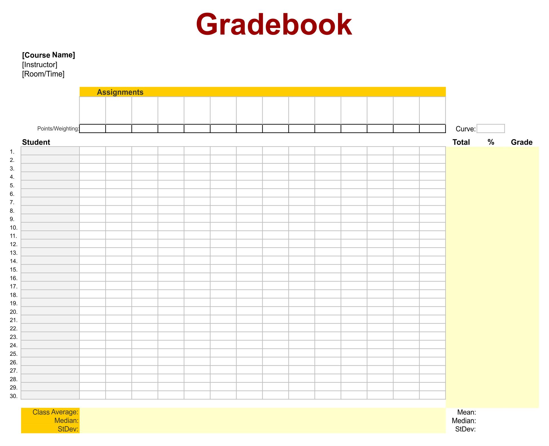 Printable Grade Sheets For Teachers