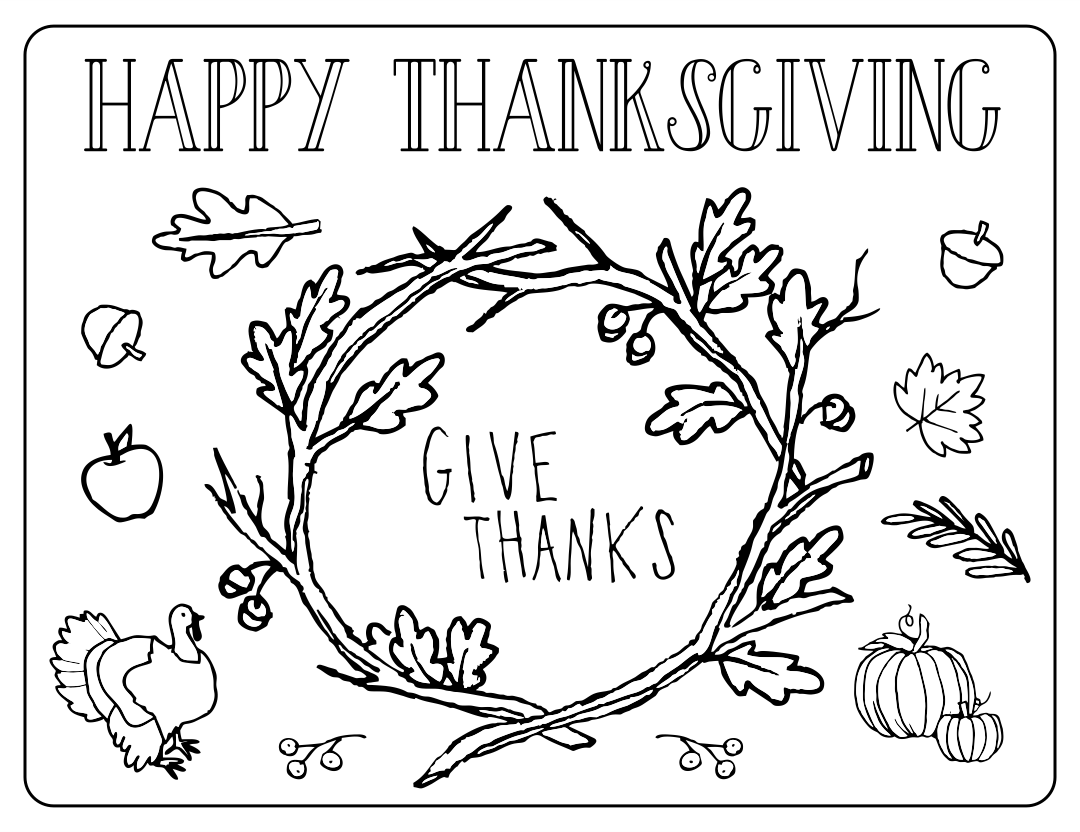 Coloring Pages Printable Thanksgiving Placemat