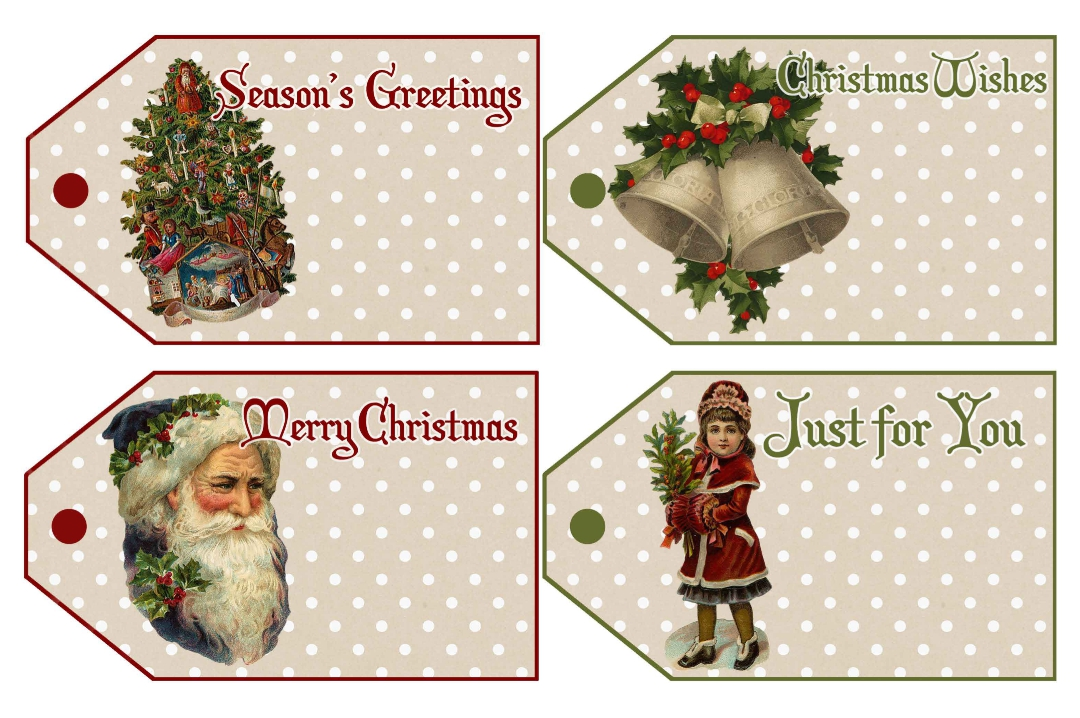 Vintage Printable Christmas Name Tags