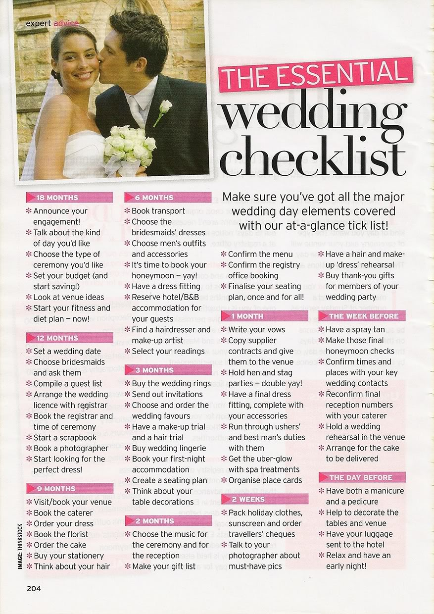 Order Of The Wedding Planning Checklist Template Printable