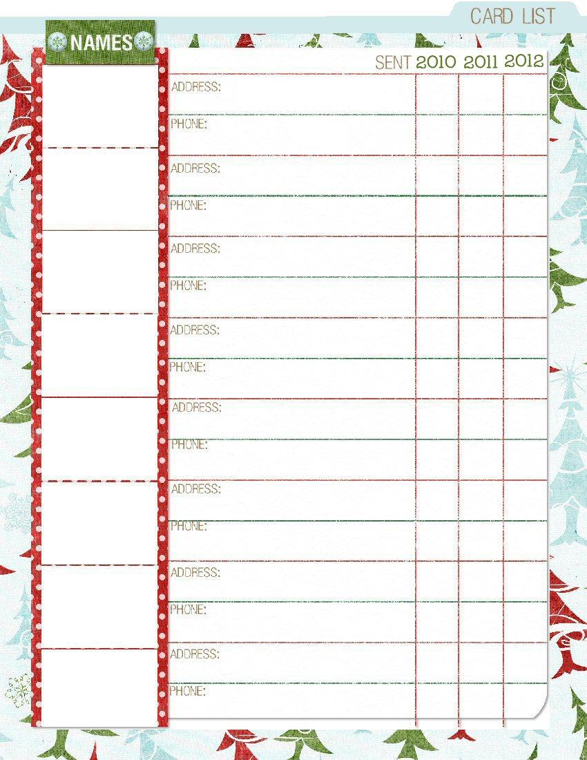 Christmas Card Planner Printables