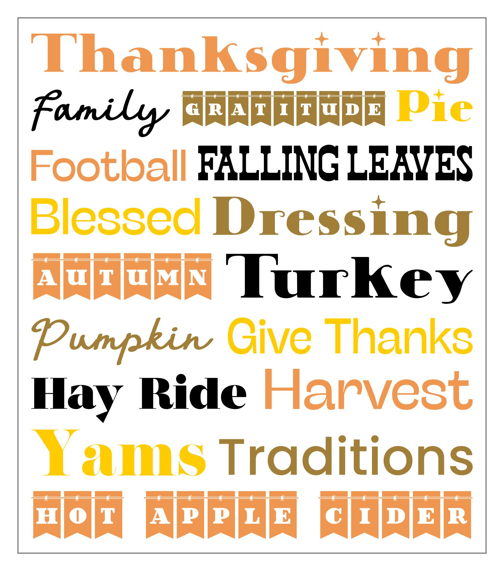 Printable Thanksgiving Word Art