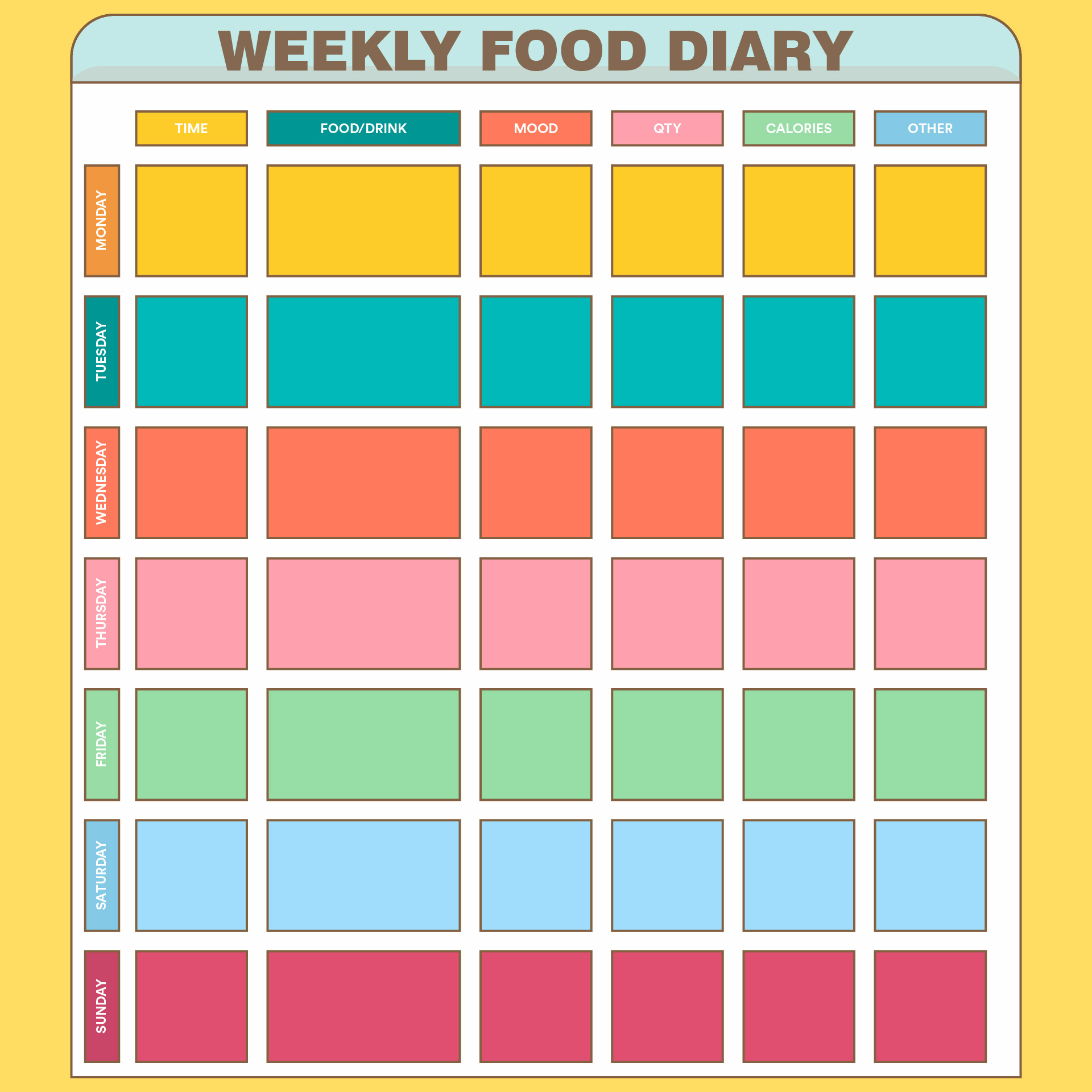 Printable Weekly Food Log Journal