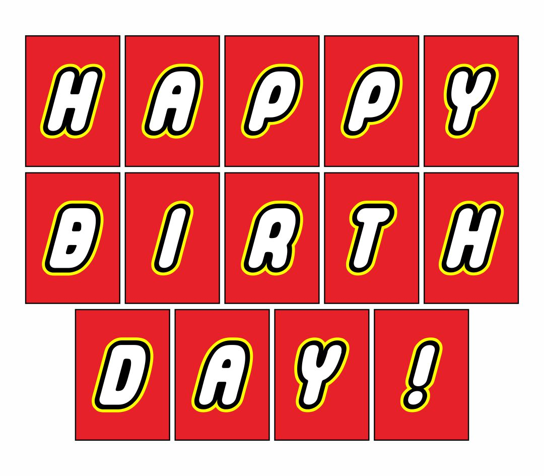 Printable LEGO Happy Birthday Sign