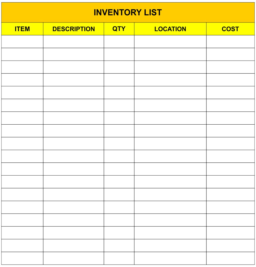 Printable Inventory Log Sheet