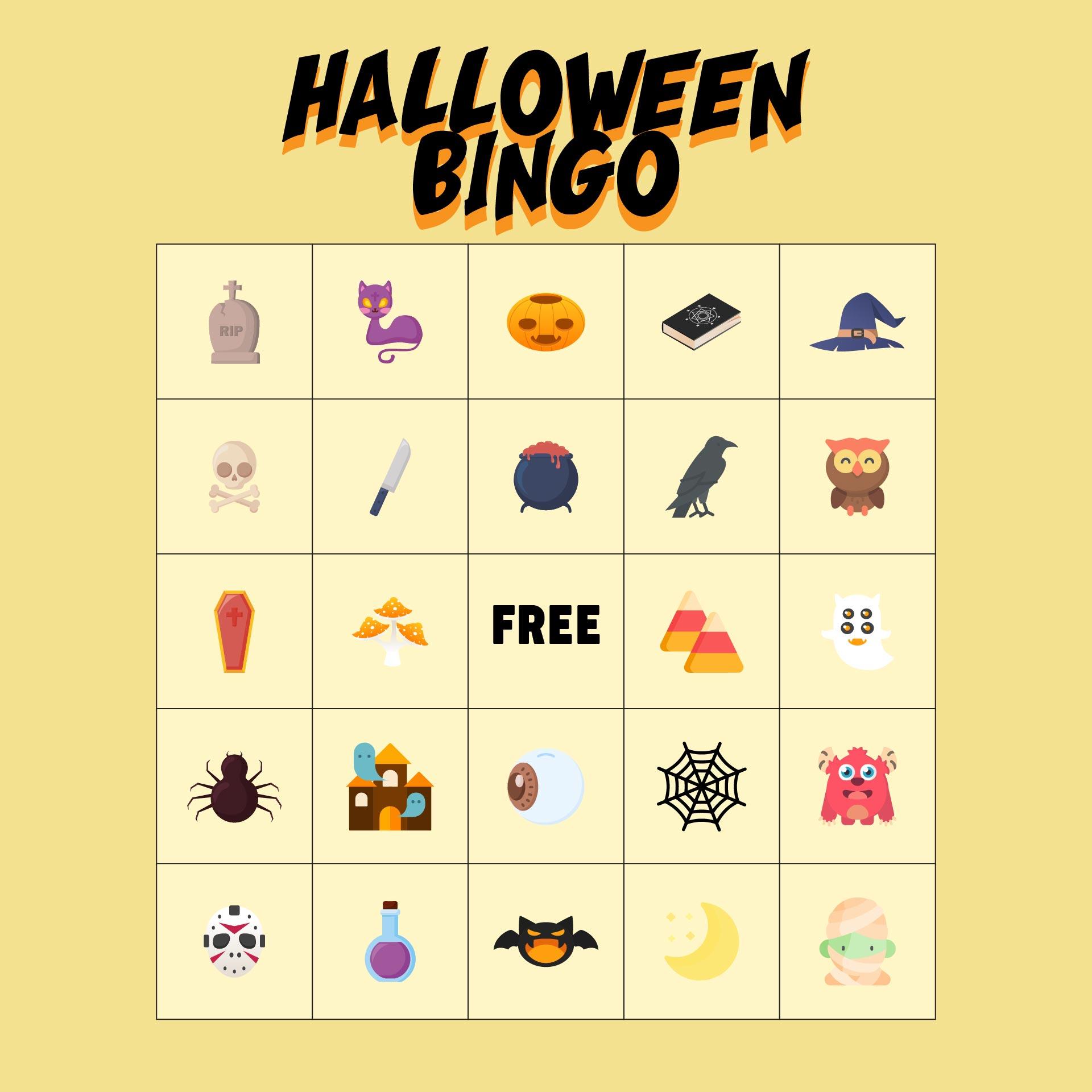 Preschool Printable Halloween Bingo Cards