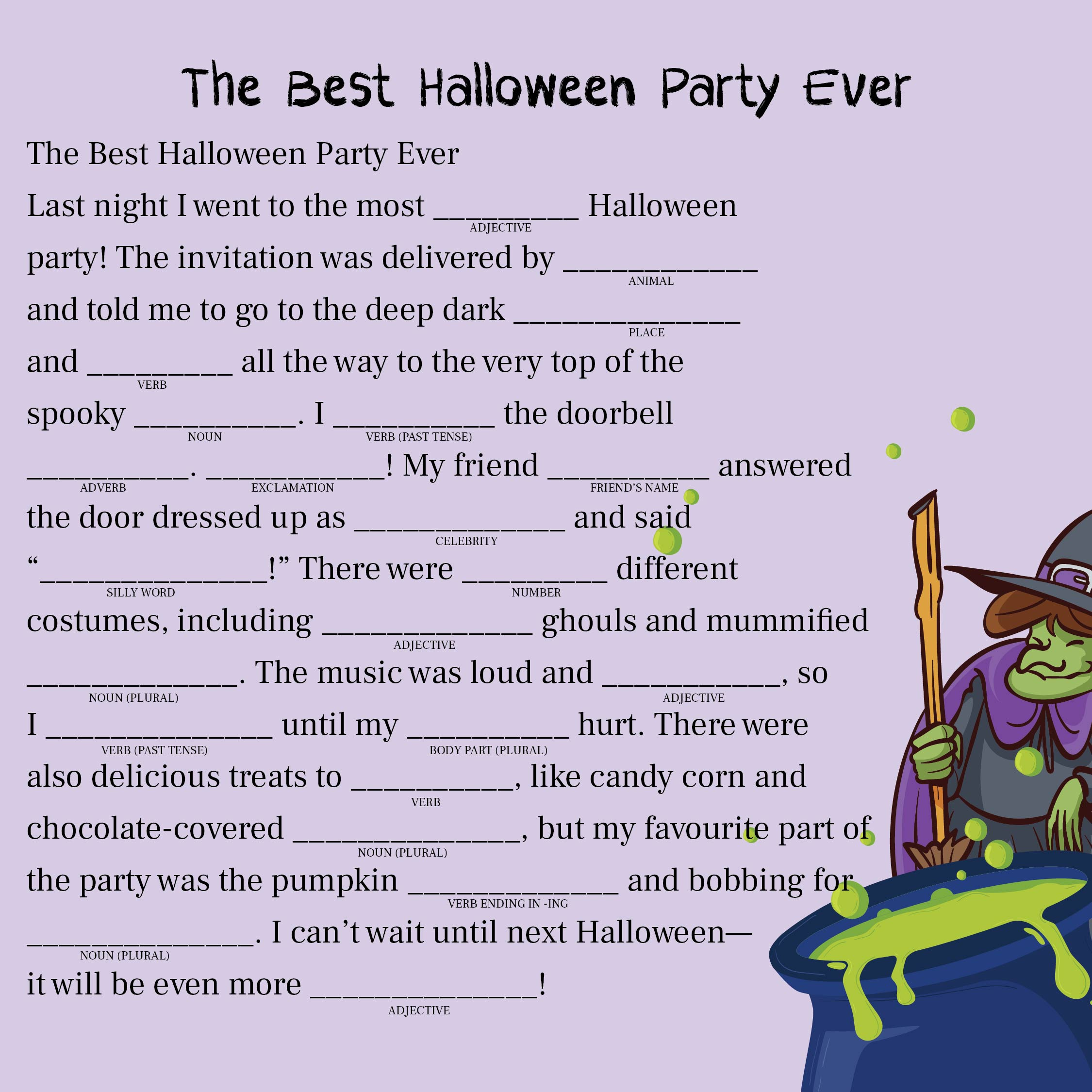 Adult Halloween Mad Libs Printable