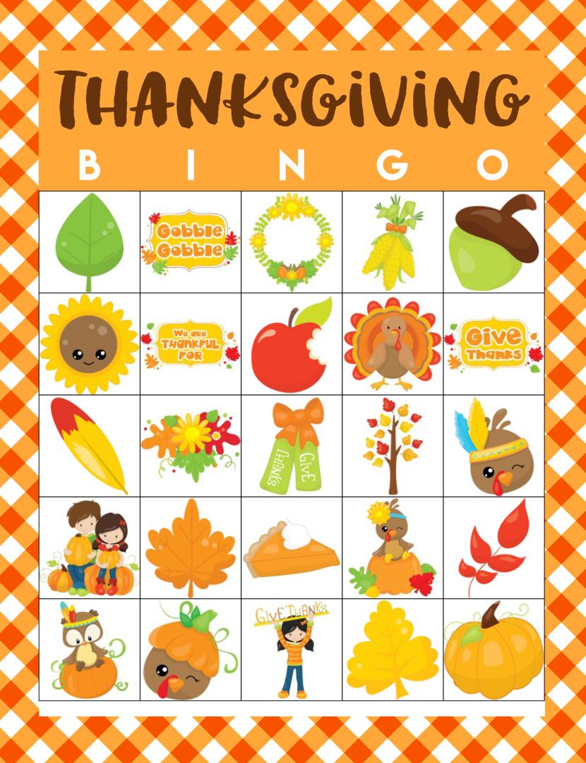 Printable Thanksgiving Bingo Sheets