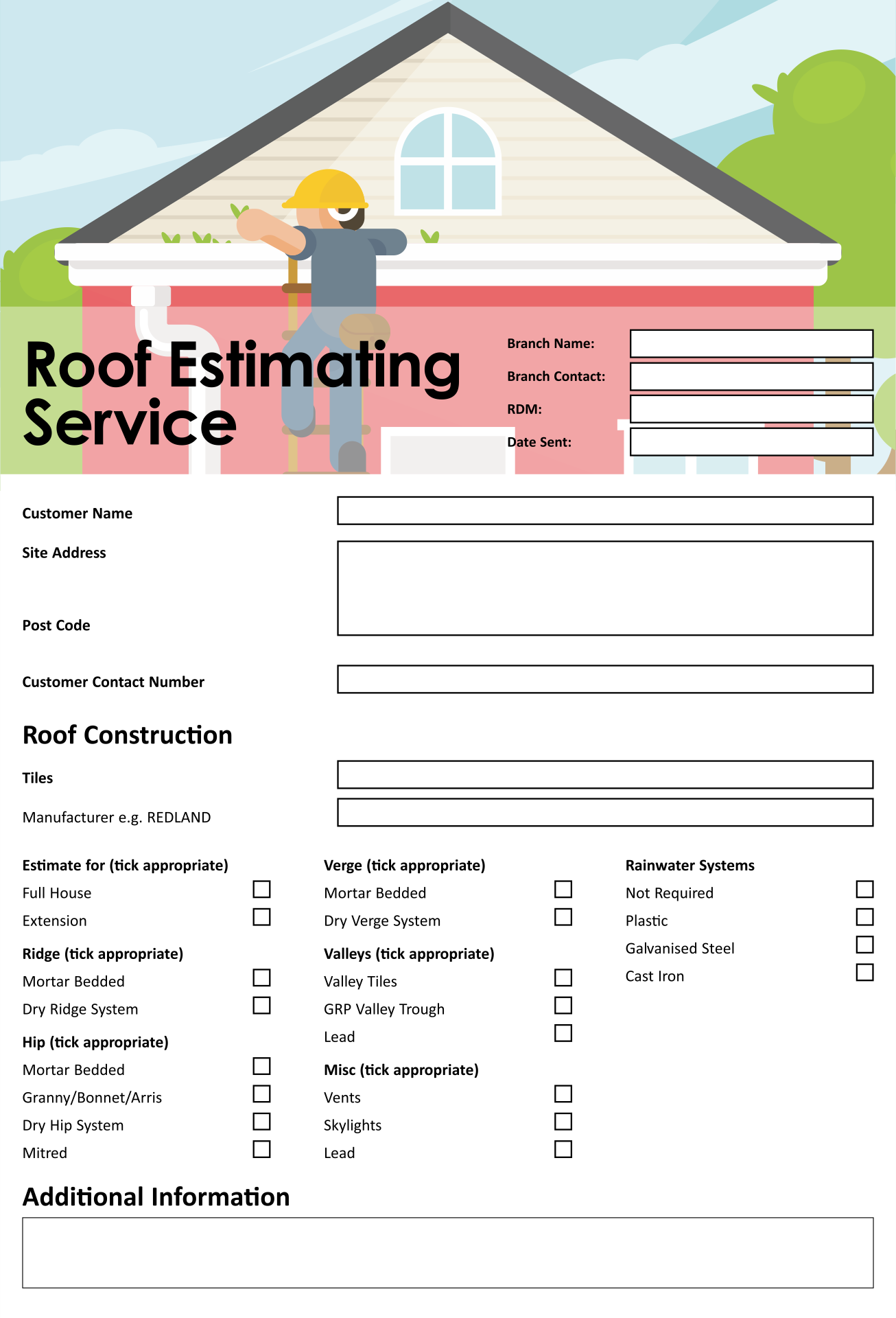 Roofing Estimate Templates Printable