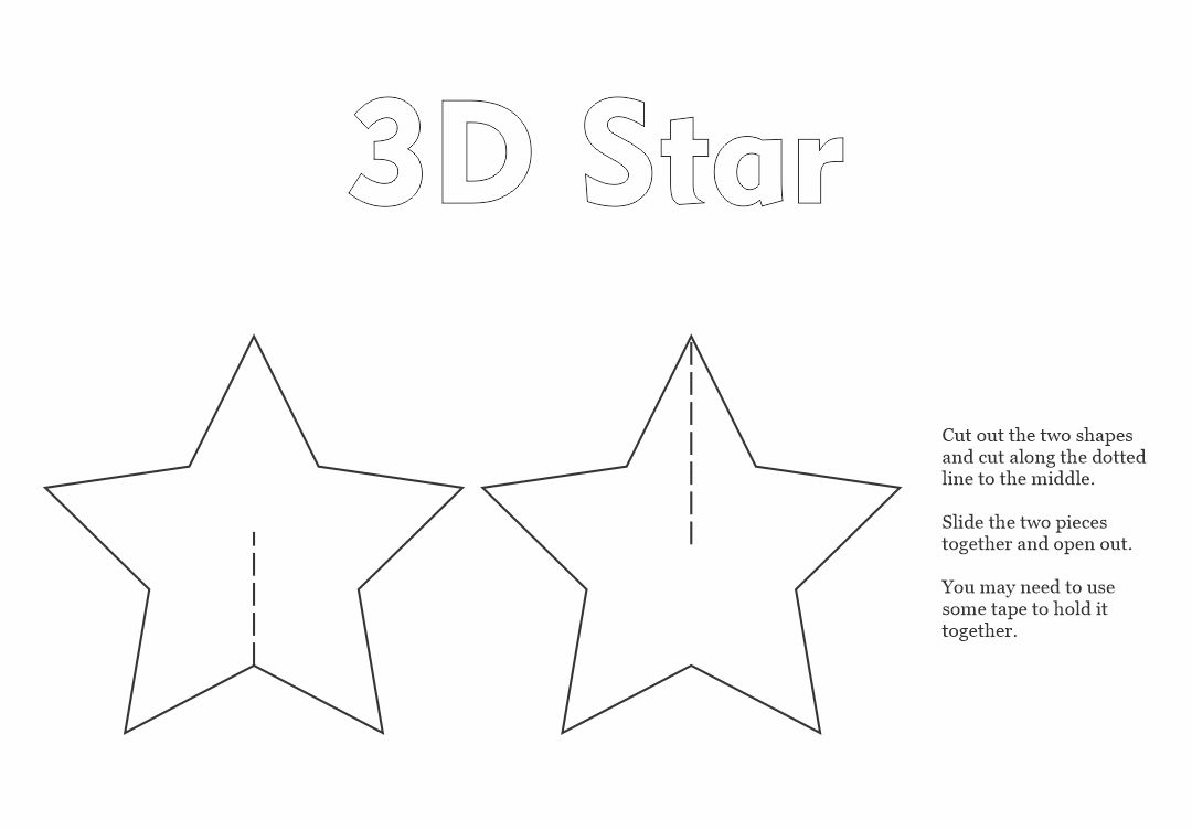 3D Star Printable Template