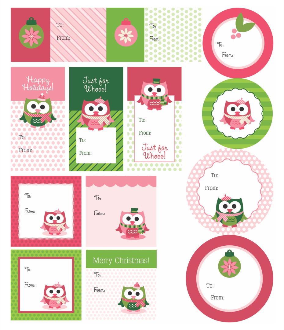 Cute Owl  Printable Christmas Gift Tags