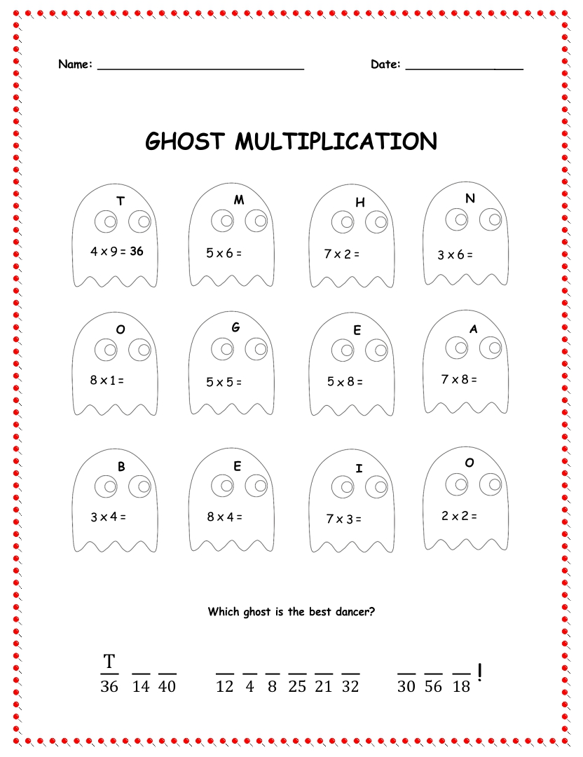 Multiplication Halloween Worksheets Printables