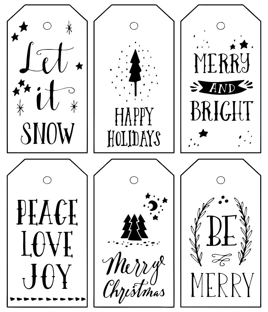 Printable Christmas Gift Tags Black And White