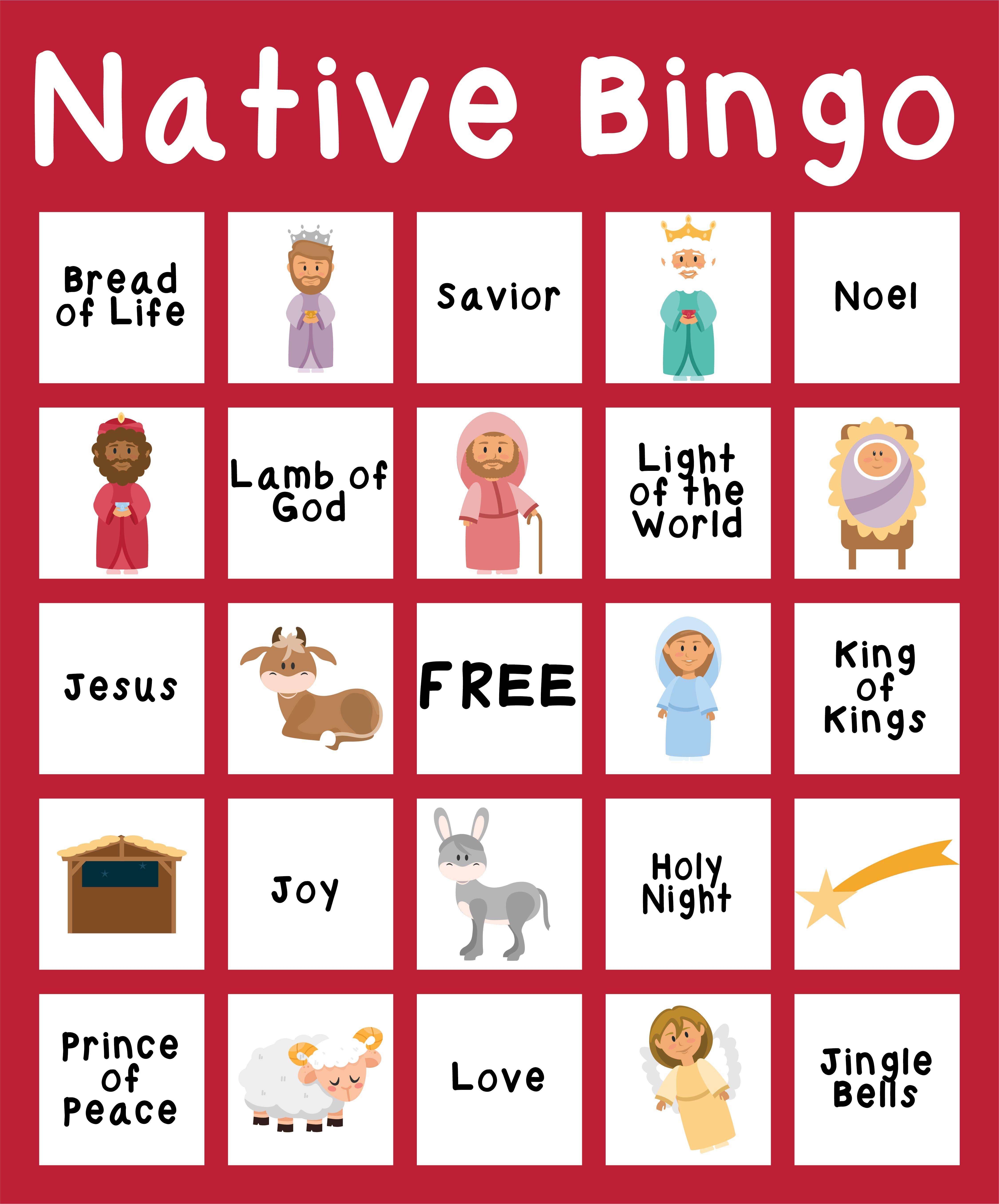 Nativity Printable Christmas Bingo