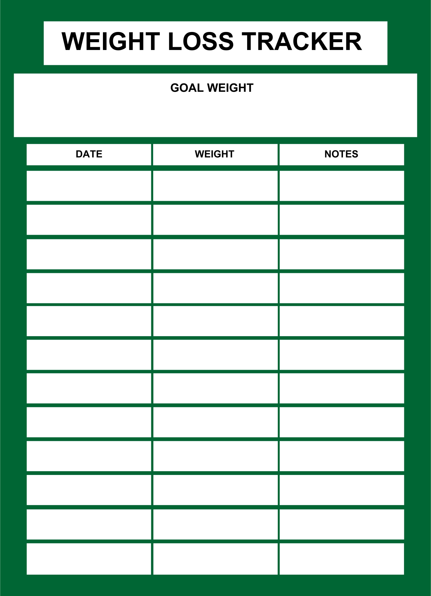 Printable Weight Log Sheet