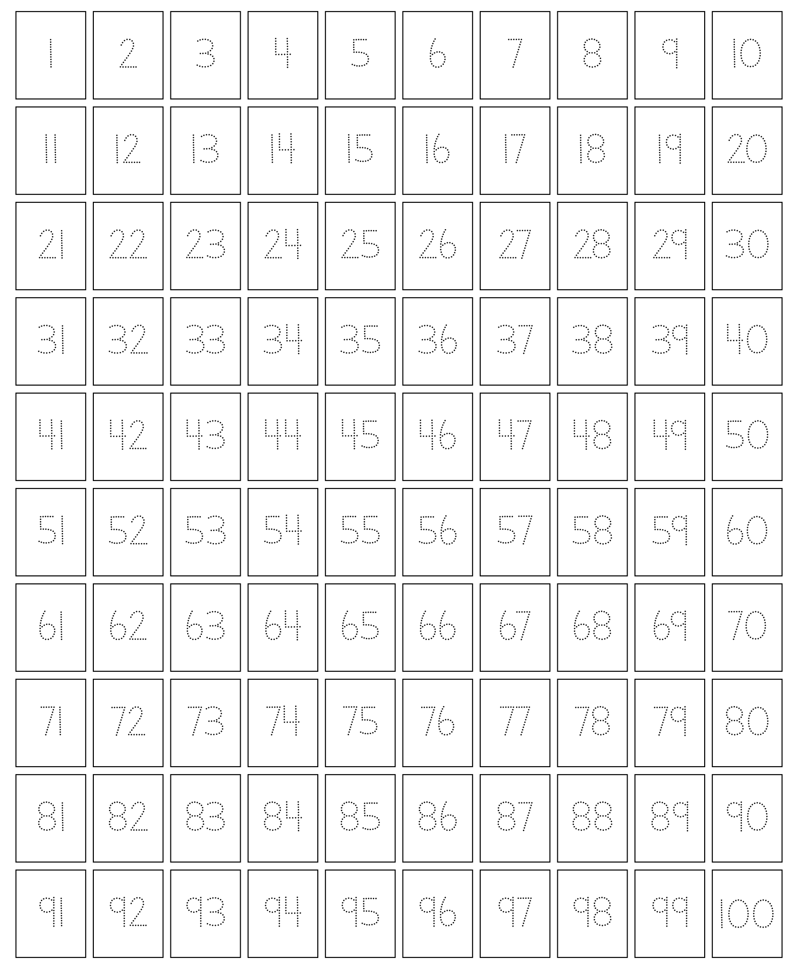 Traceable 100 Chart Printable