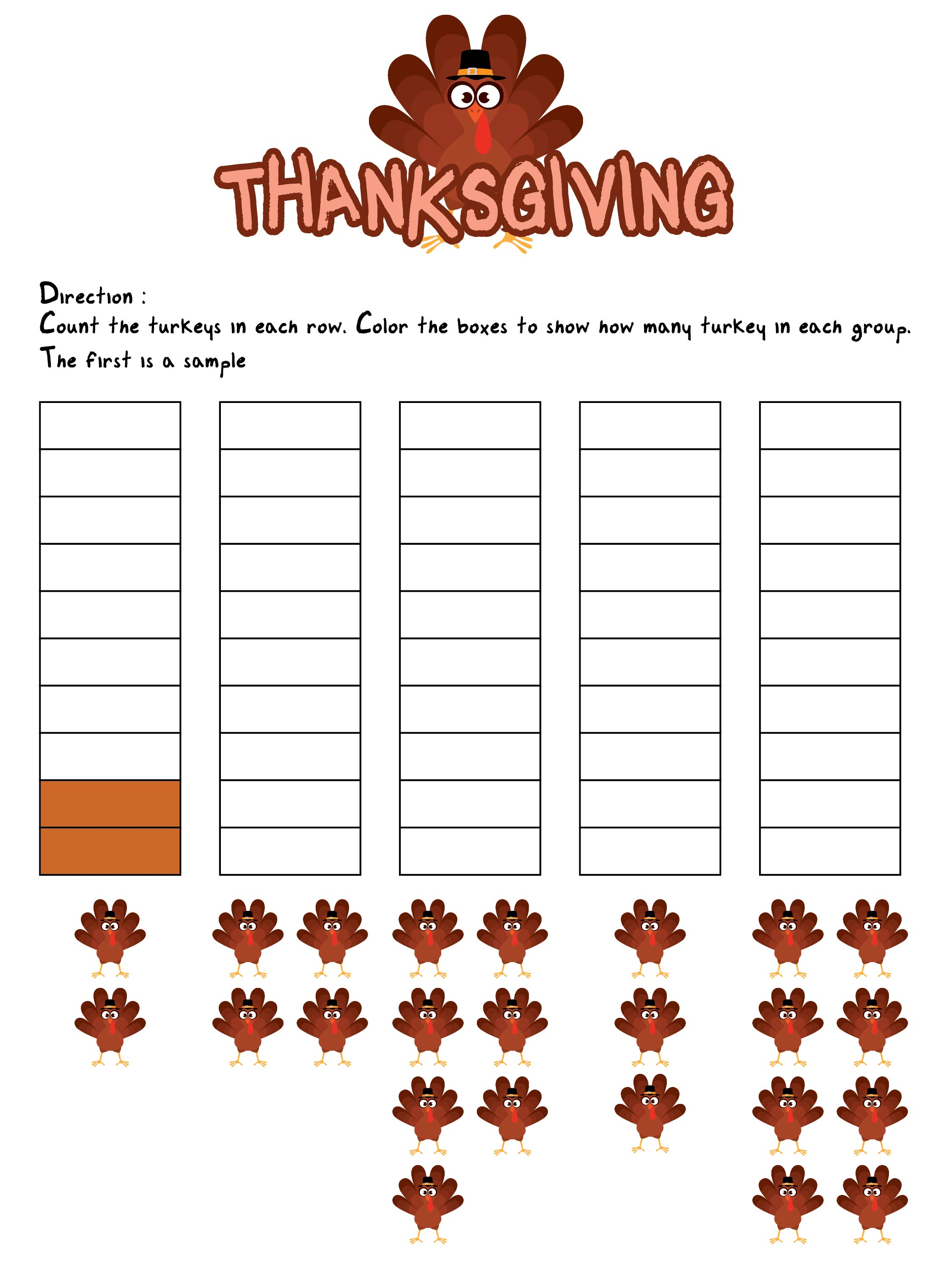 4th Grade Math Worksheets  Printable For Thanksgiving
