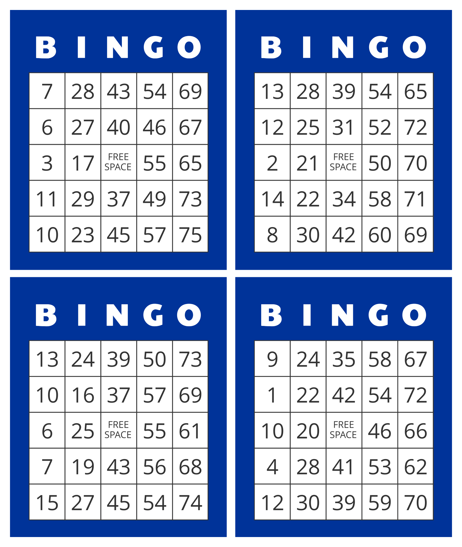 Printable Bingo Numbers 1 75