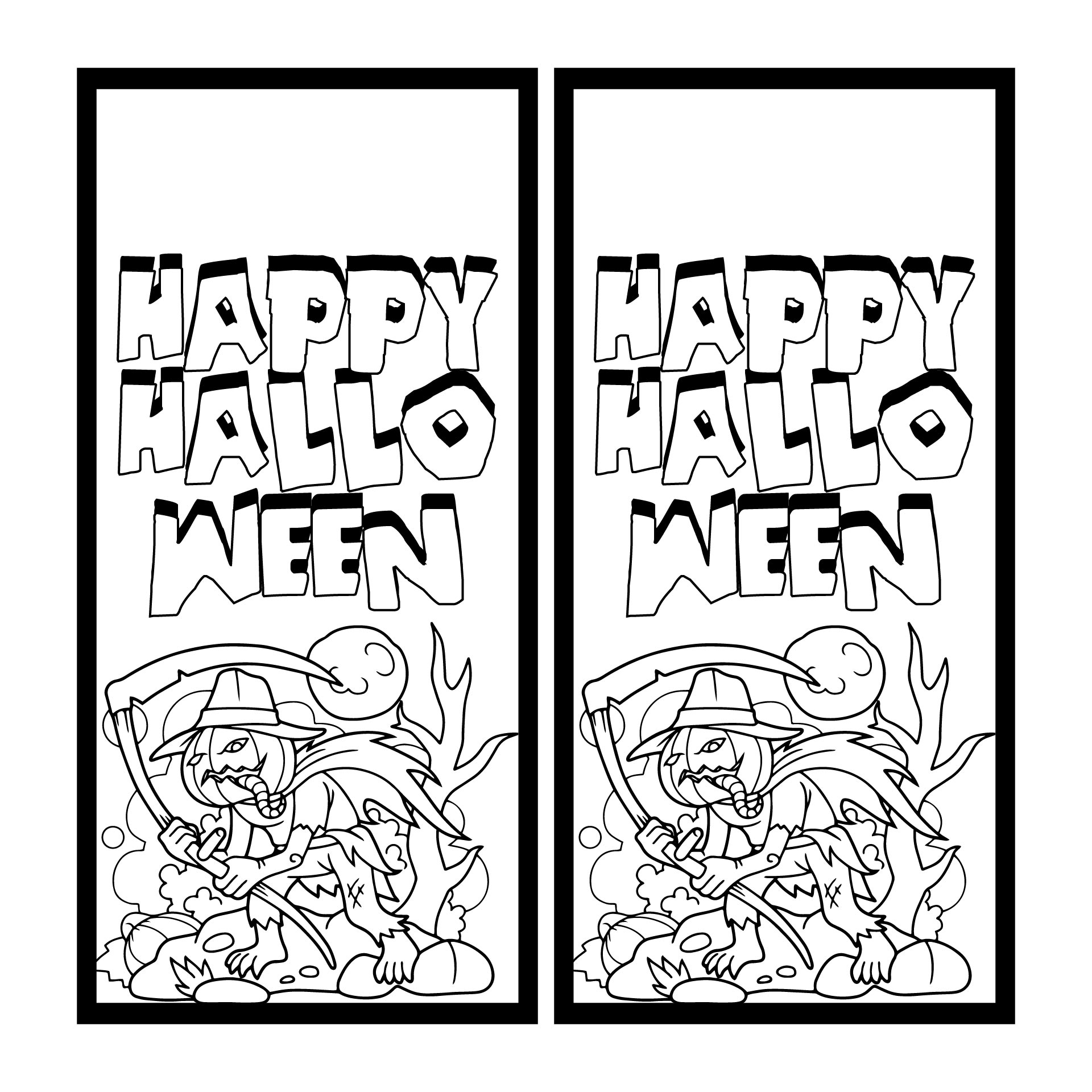 Halloween Printable Color Your Own Bookmark