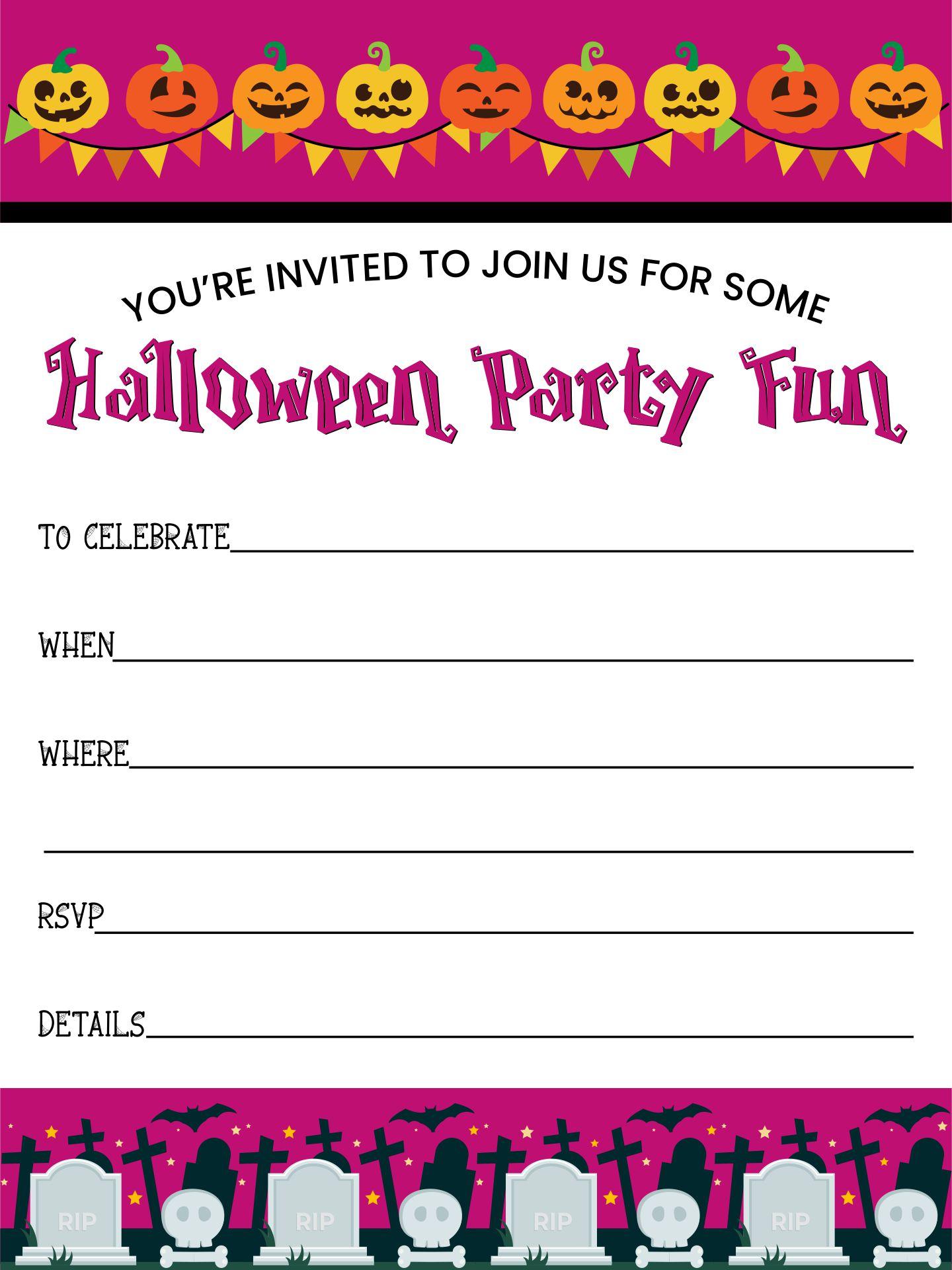 Halloween Party Printable Blank Invites