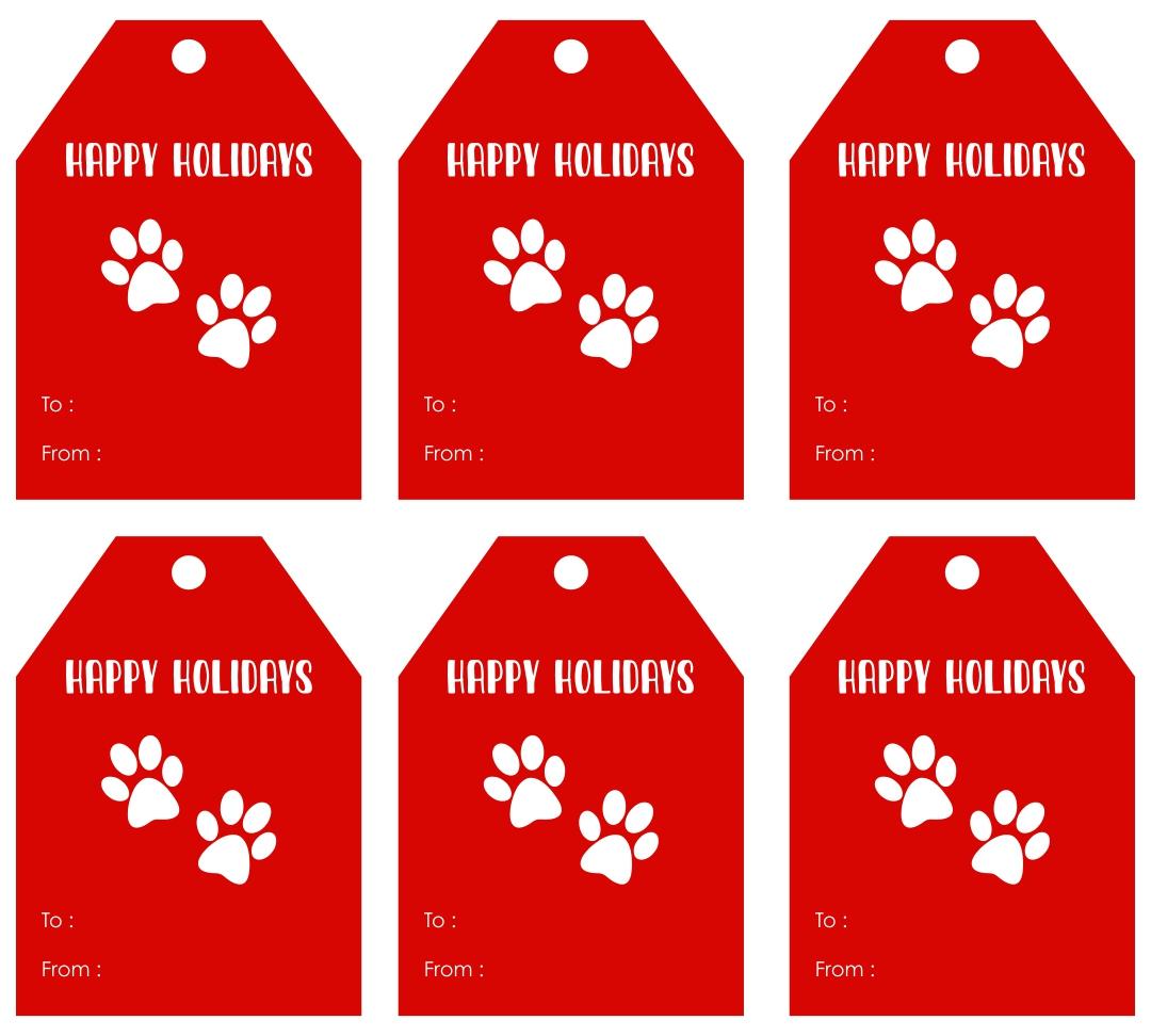 Paw Print Tag Christmas Printable