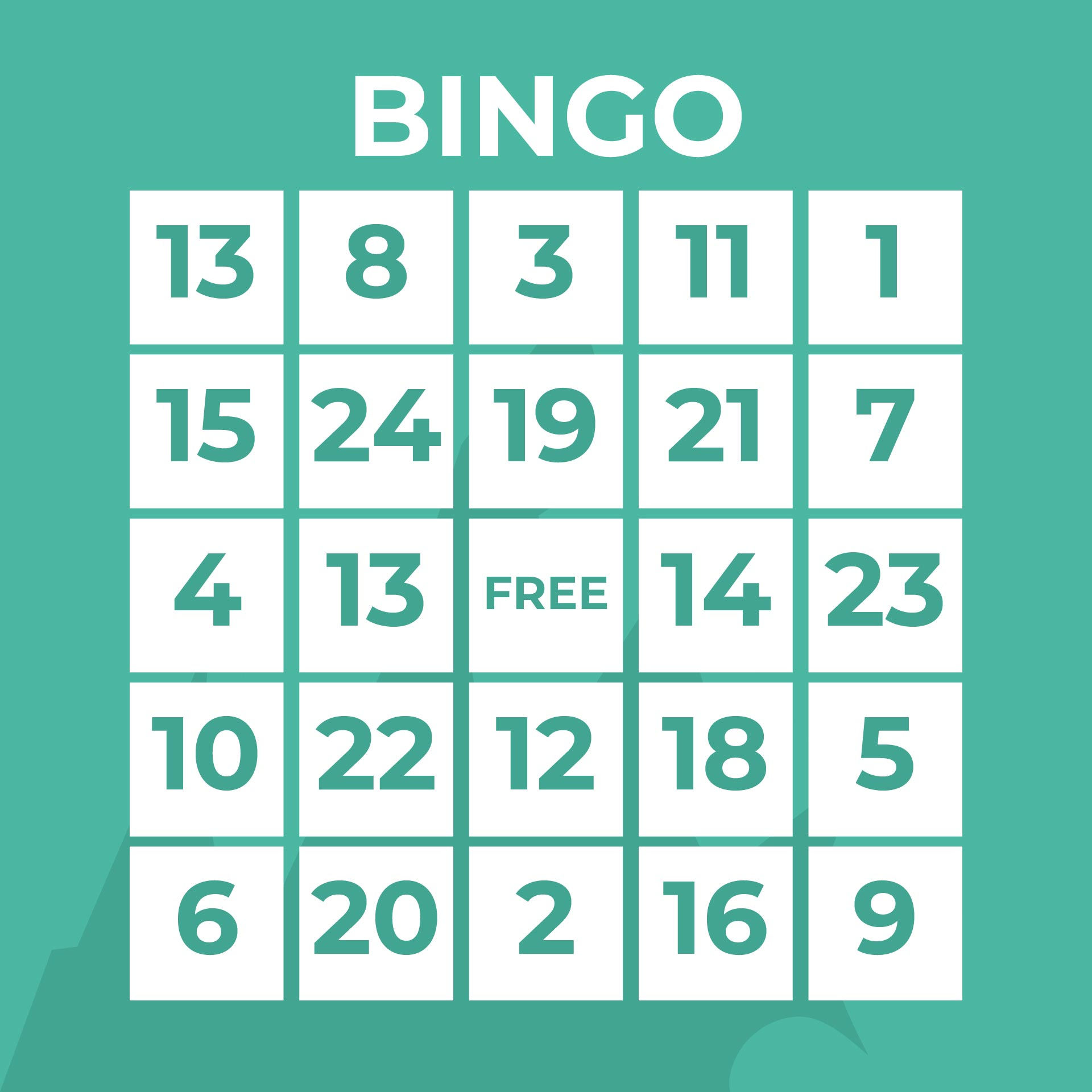Printable Bingo Numbers Sheet