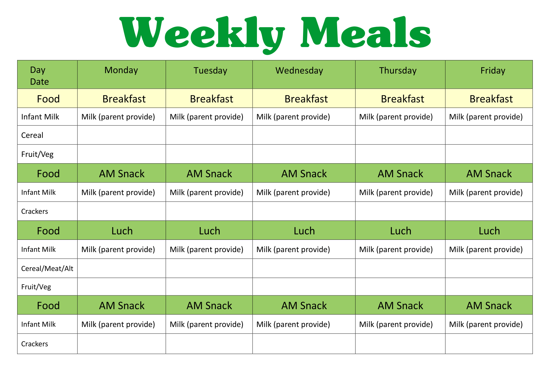 Printable Preschool Lunch Menu