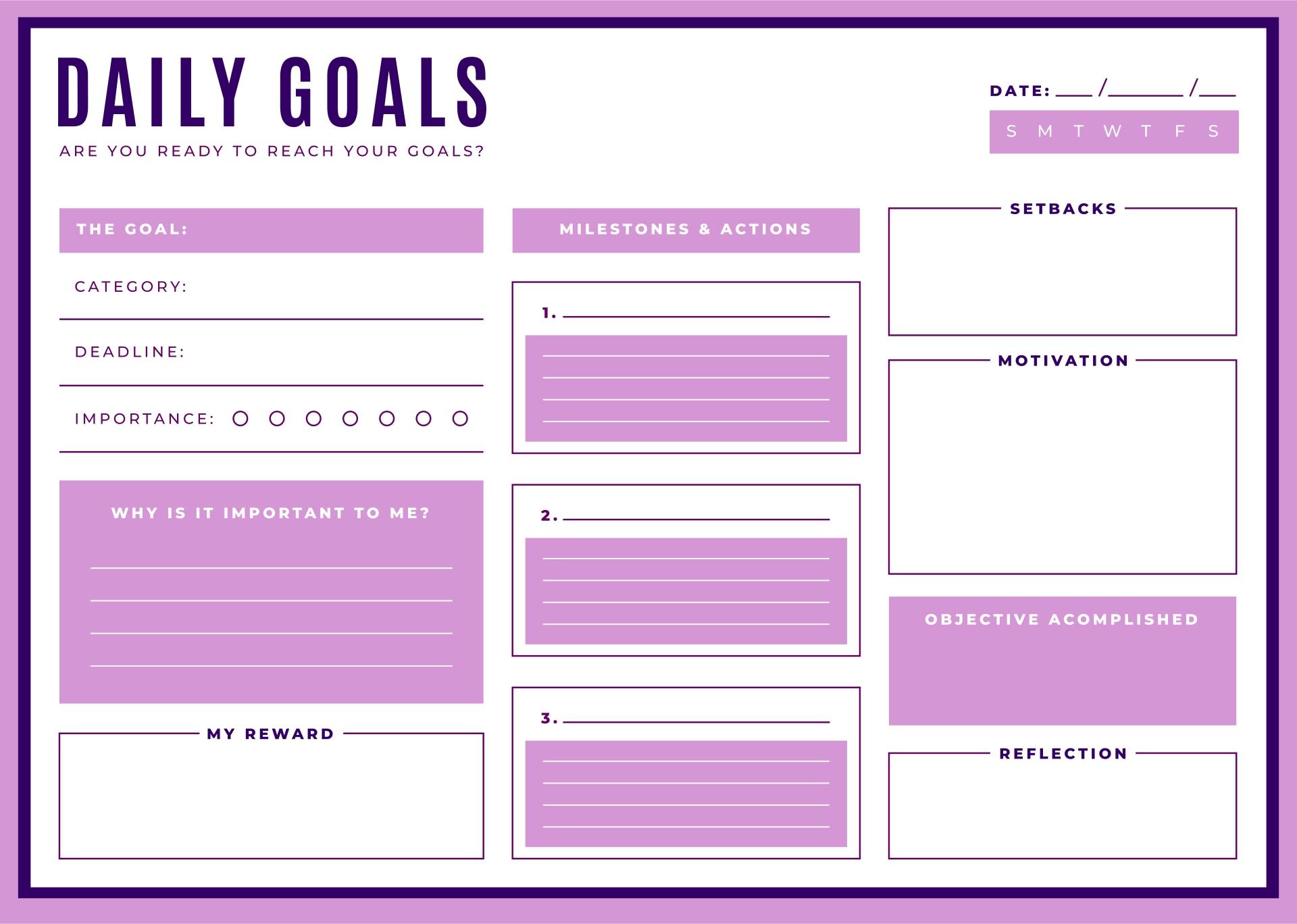 Printable Goal List