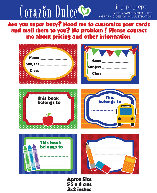 Printable School Stickers