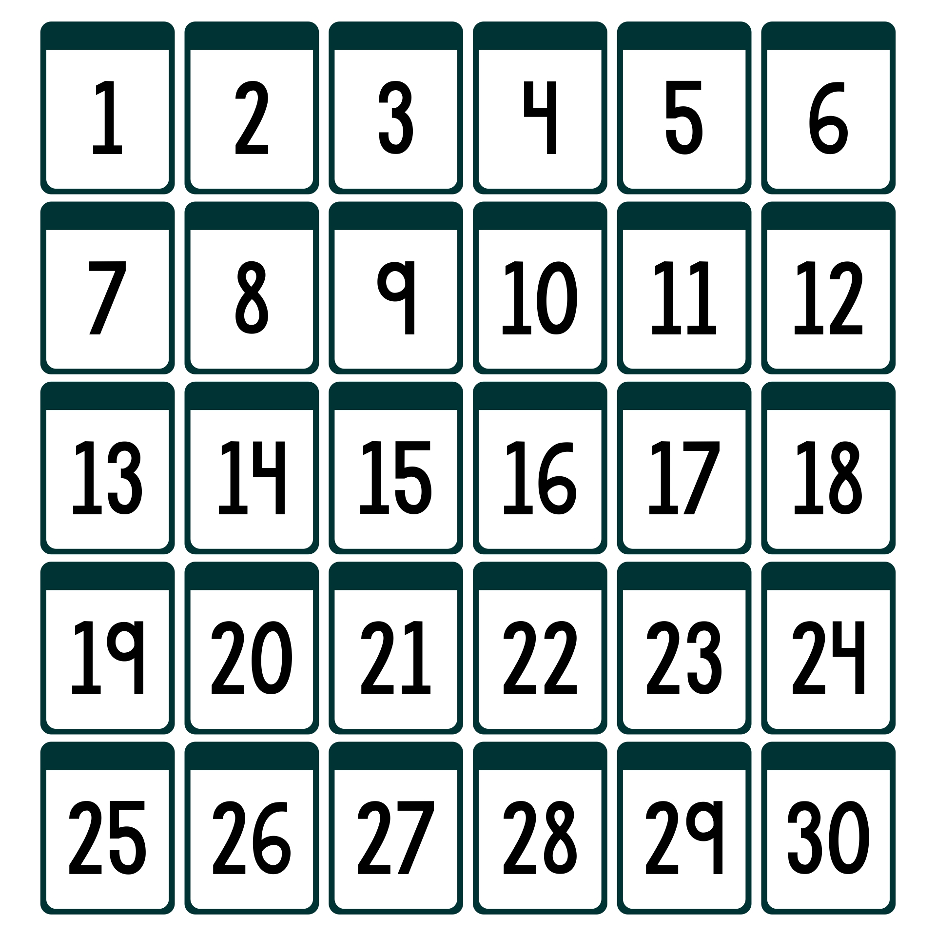 Printable Numbers From 1 30