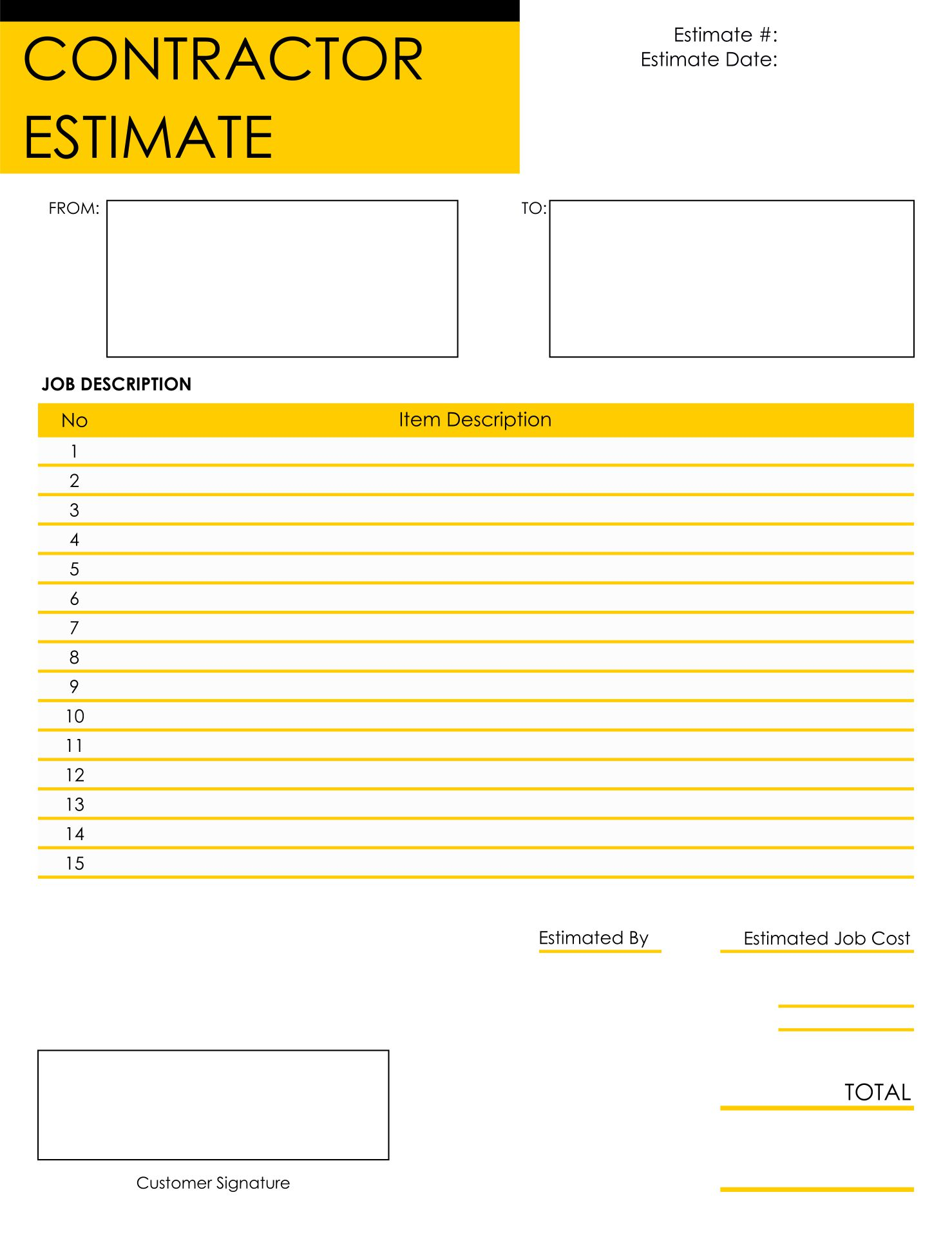 Printable Estimate Templates Blank Downloadable