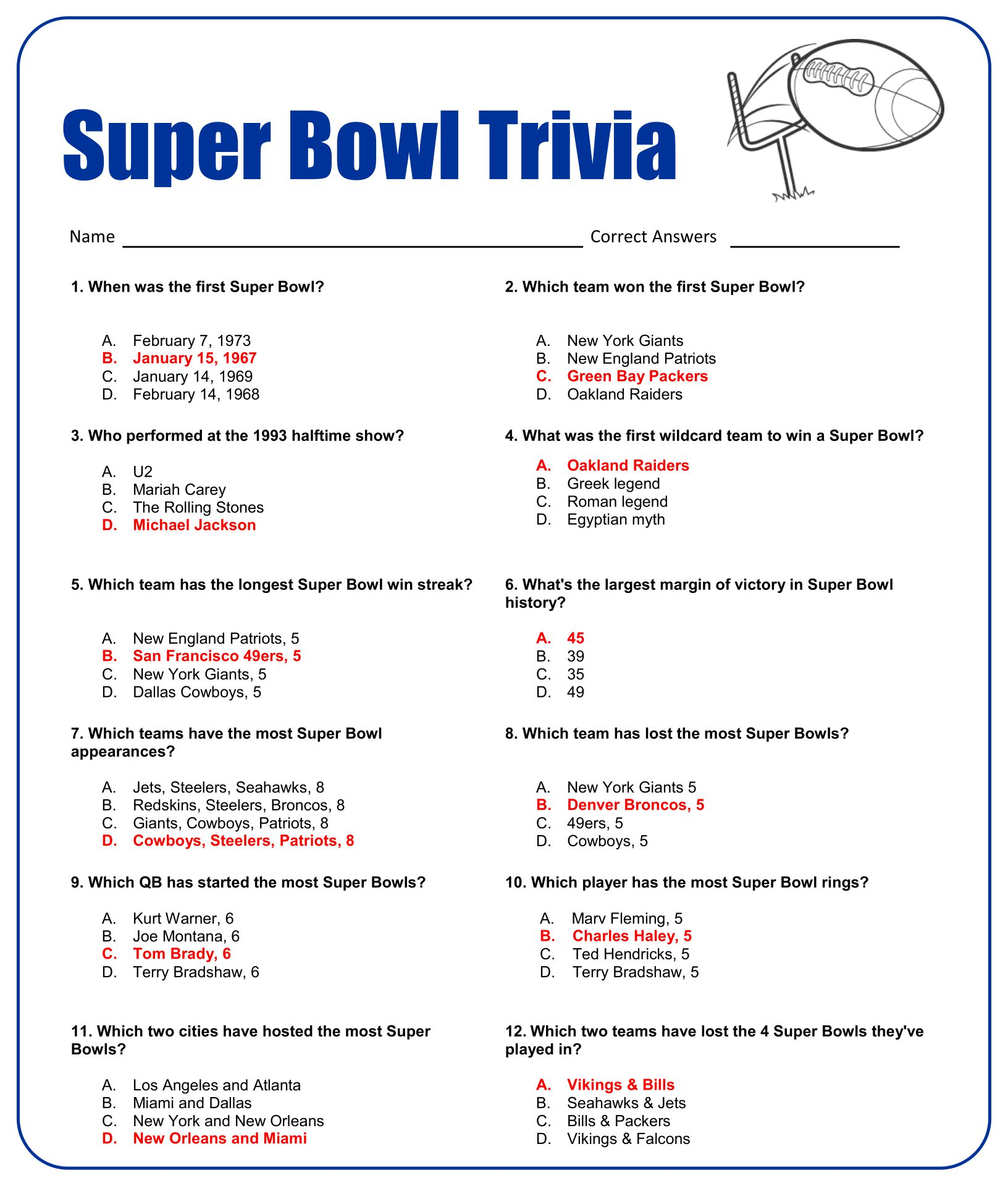 Printable Sports Trivia Worksheet