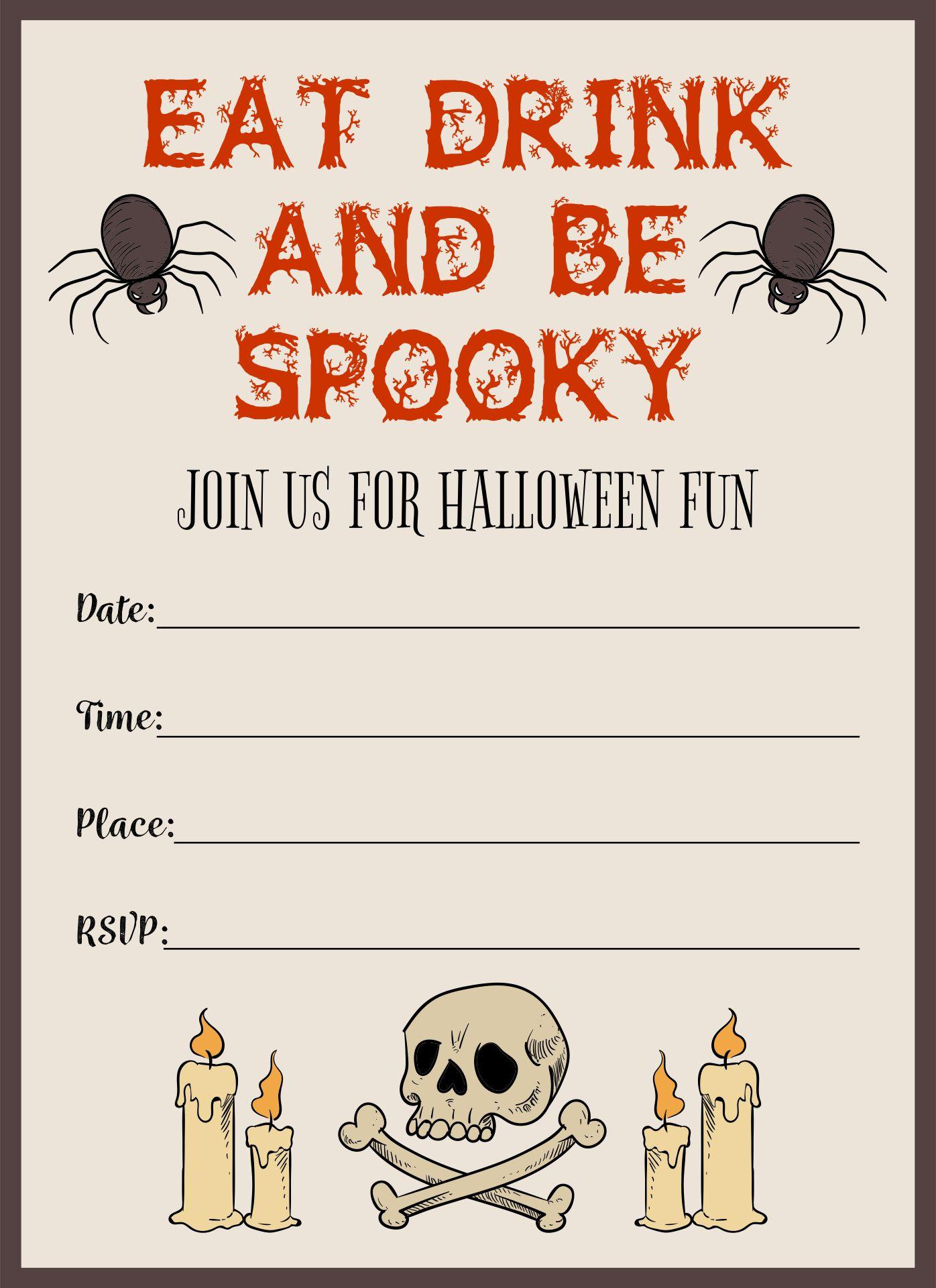Scary Halloween Invitations Printable