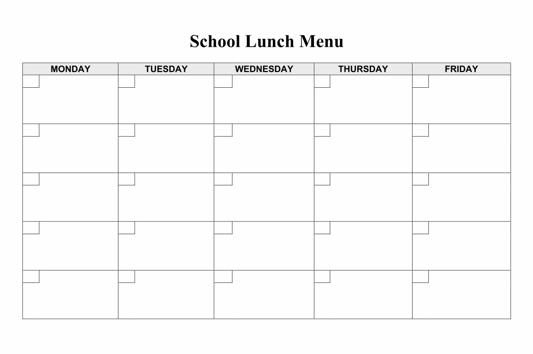 Printable Blank Lunch Menus