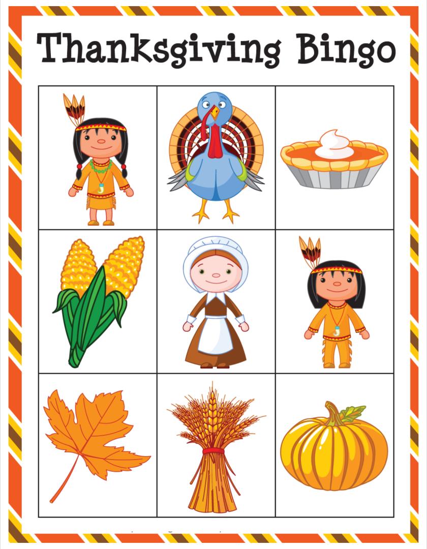 Printable Thanksgiving Card Games