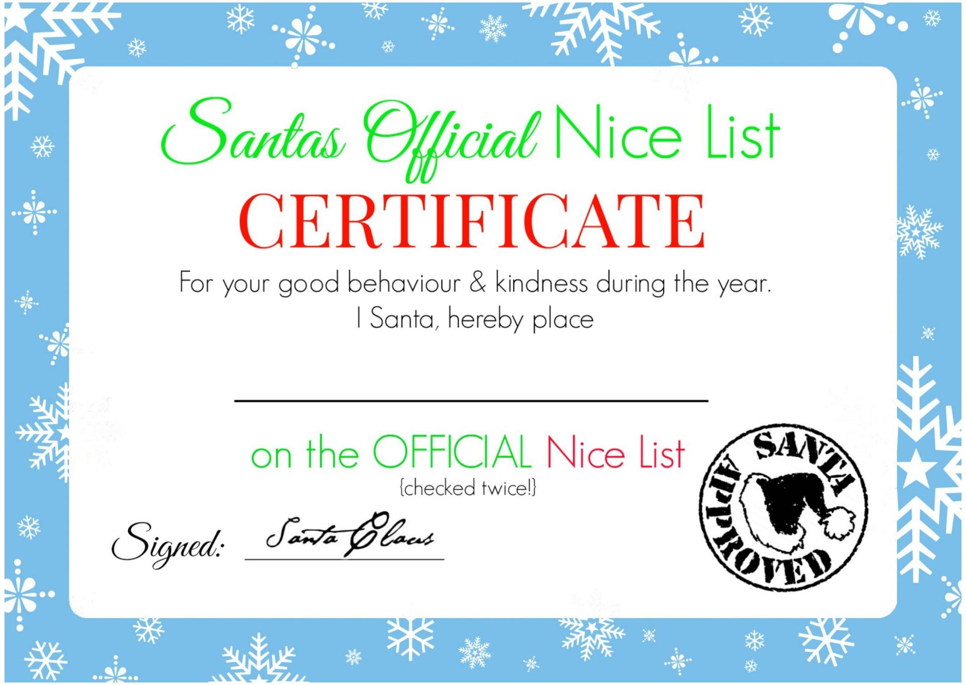 Blank Nice List Certificate Printable