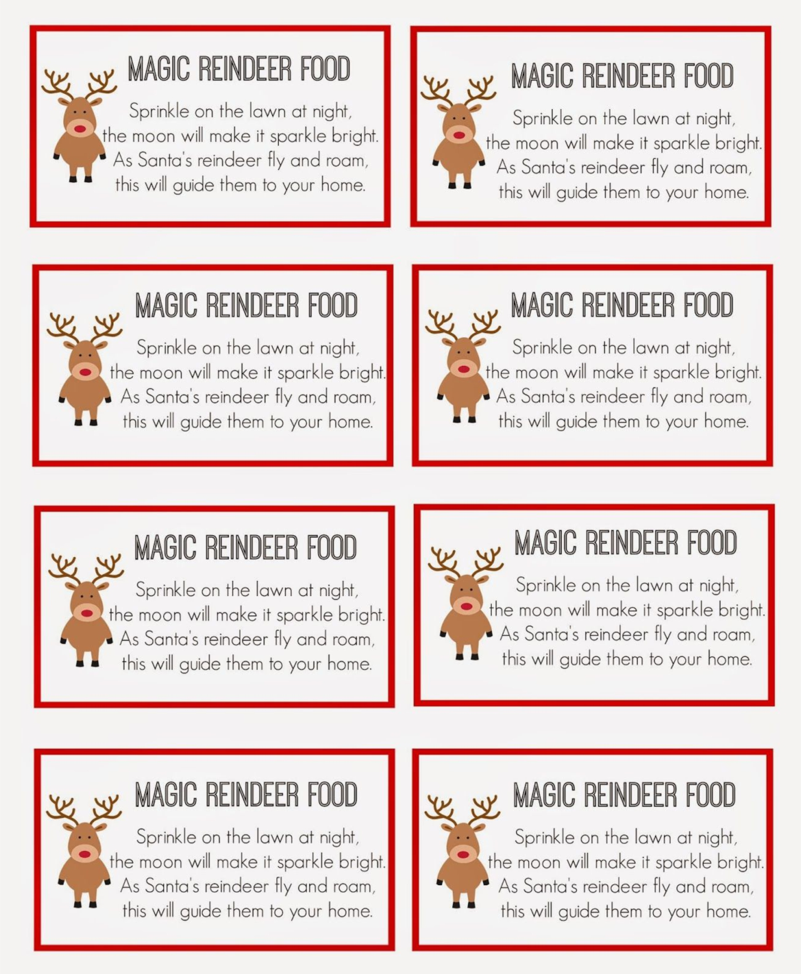 Reindeer Food Tags Printables
