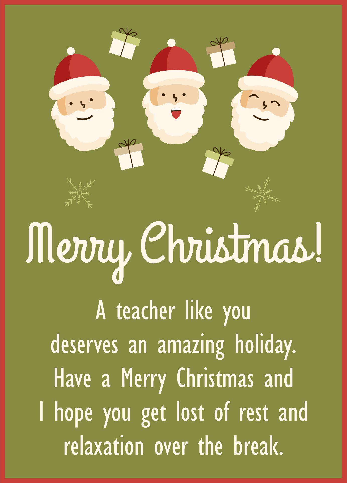 Printable Christmas Cards For Teachers