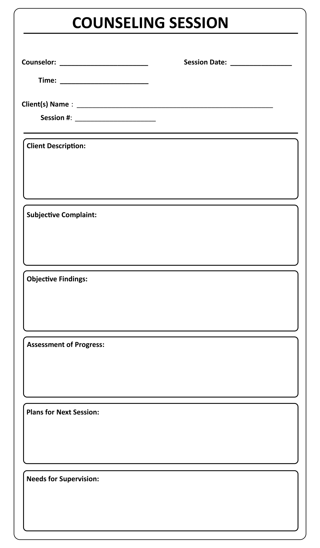Printable Counseling Soap Note Templates