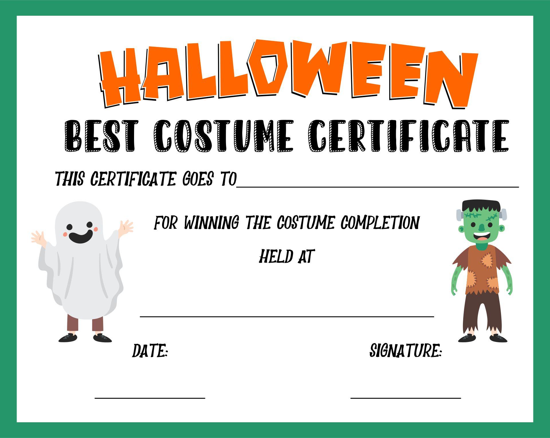 Halloween Costume Certificates Printable